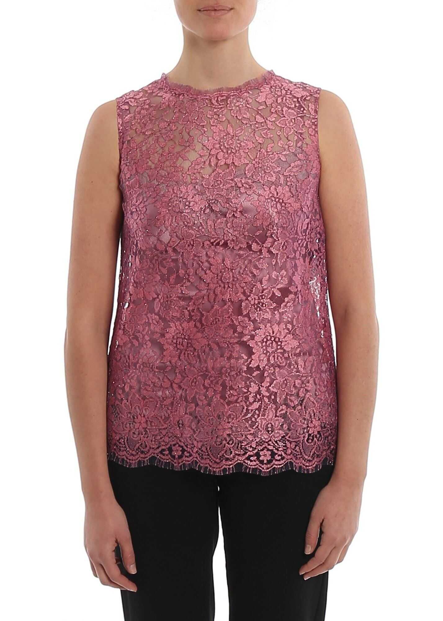 Dolce & Gabbana Lamé Chantilly Lace Top Pink