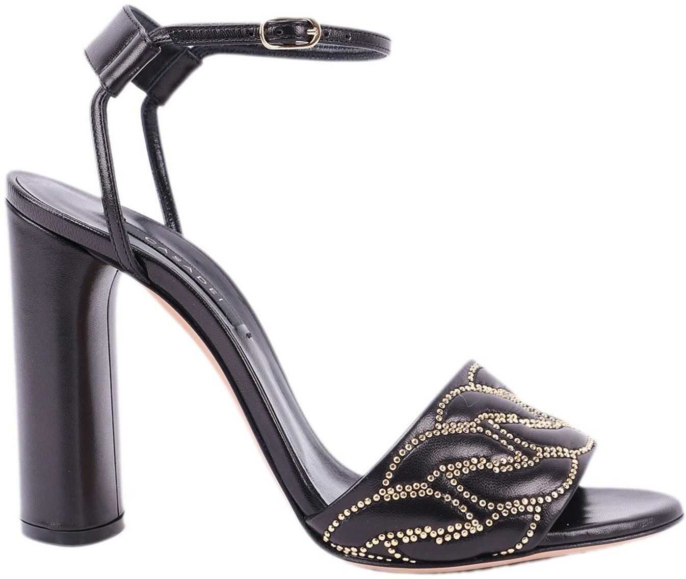 Casadei Catenassé Quilted Leather Rhinestone Sandals Black