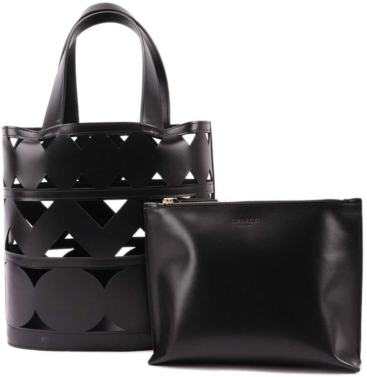 Casadei Malika Perforated Leather Bucket Bag Black