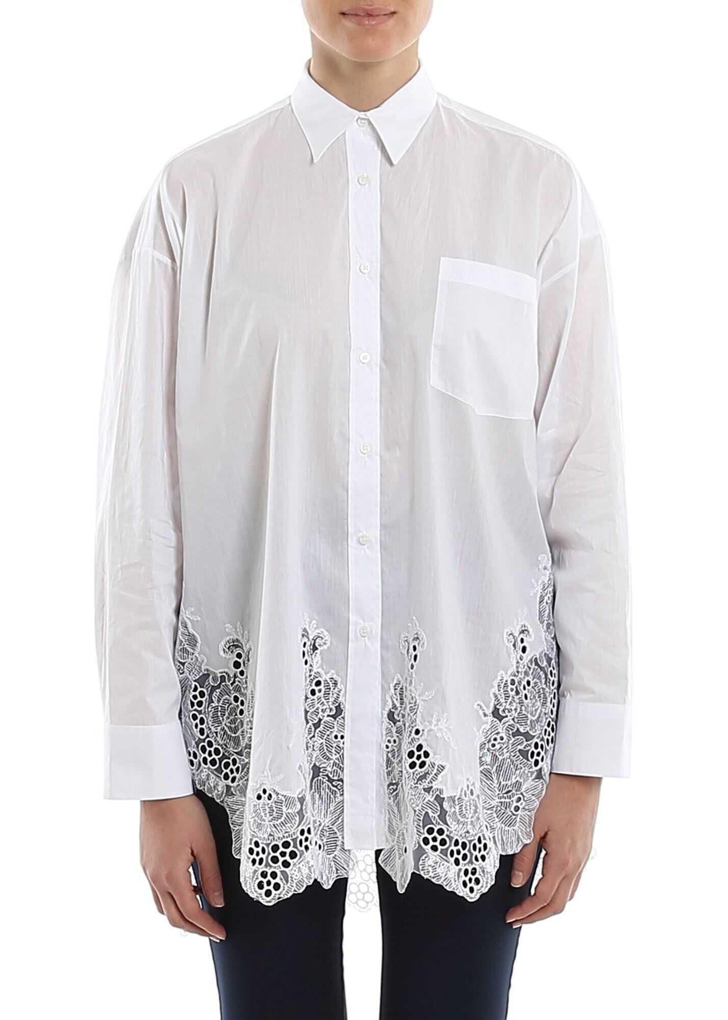 Ermanno Scervino Poplin Cotton Lace Hem Shirt White