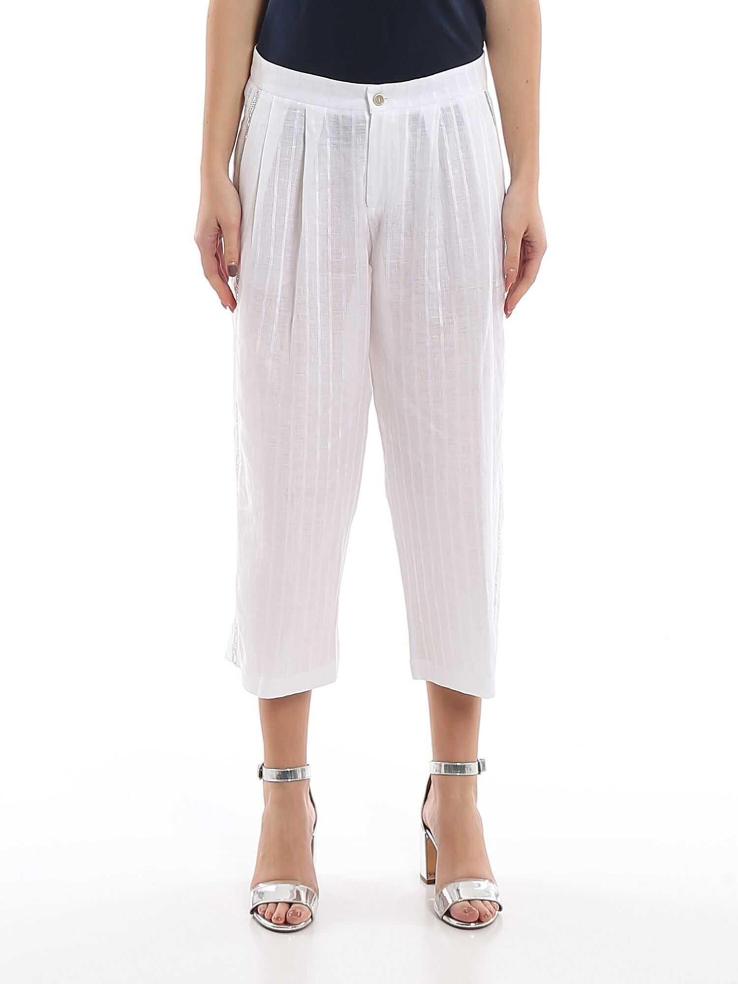 Ermanno Scervino Rhinestone Trim Linen Trousers White