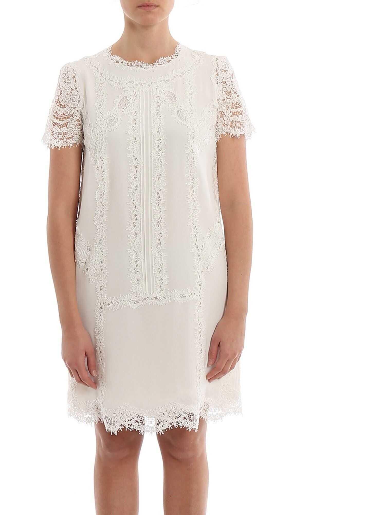 Ermanno Scervino Silk And Lace Dress White