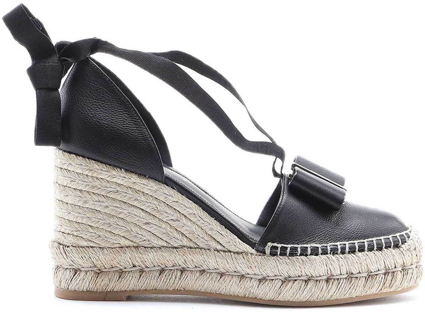 Salvatore Ferragamo Geranio Wedge Espadrilles Black