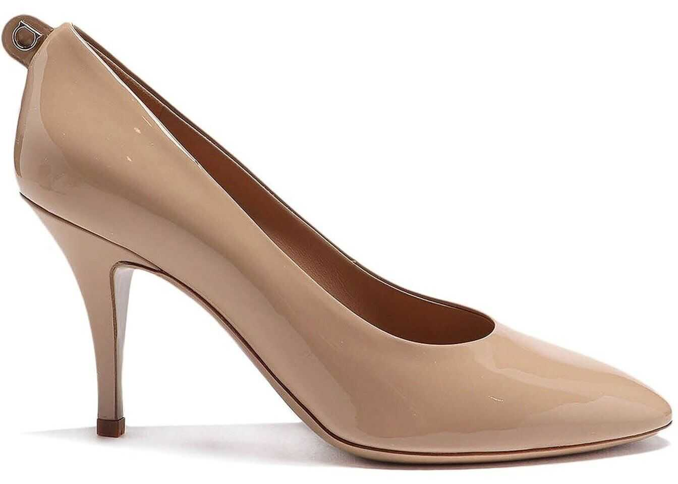 Salvatore Ferragamo Judy 85 Patent Leather Pumps Beige