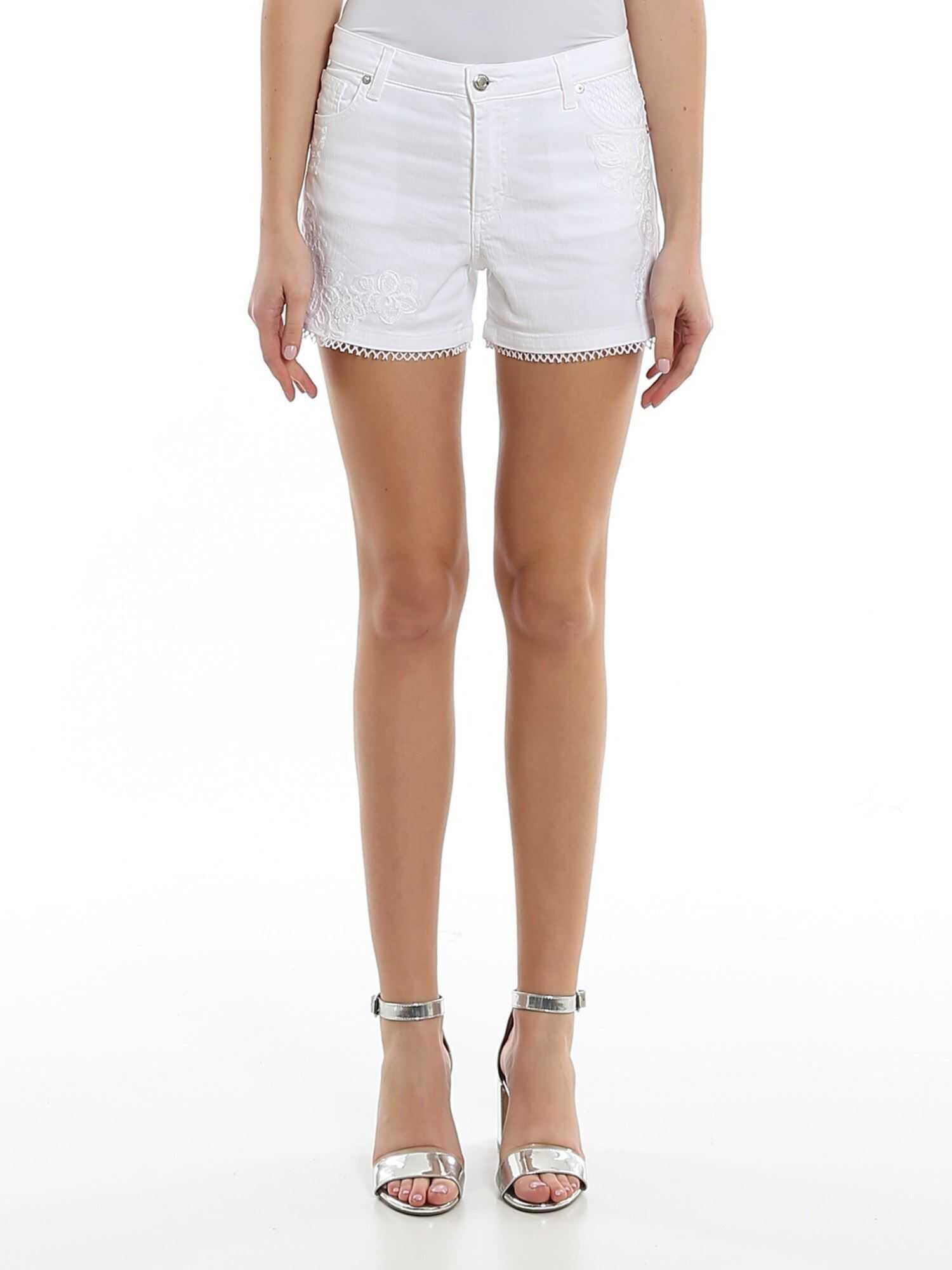 Ermanno Scervino Floral Embroidery Denim Shorts White