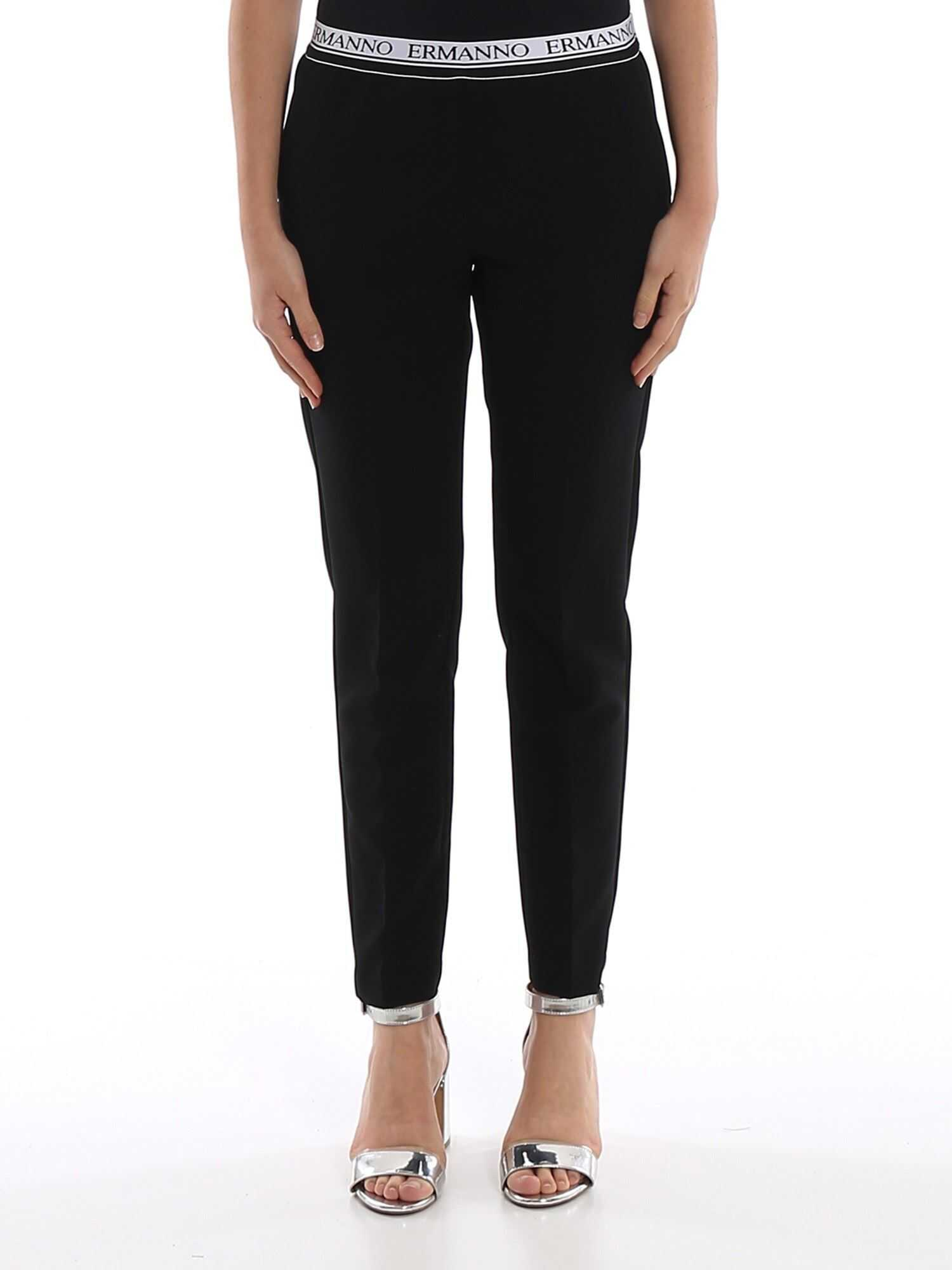 Ermanno Scervino Logo Waistband Cady Trousers Black