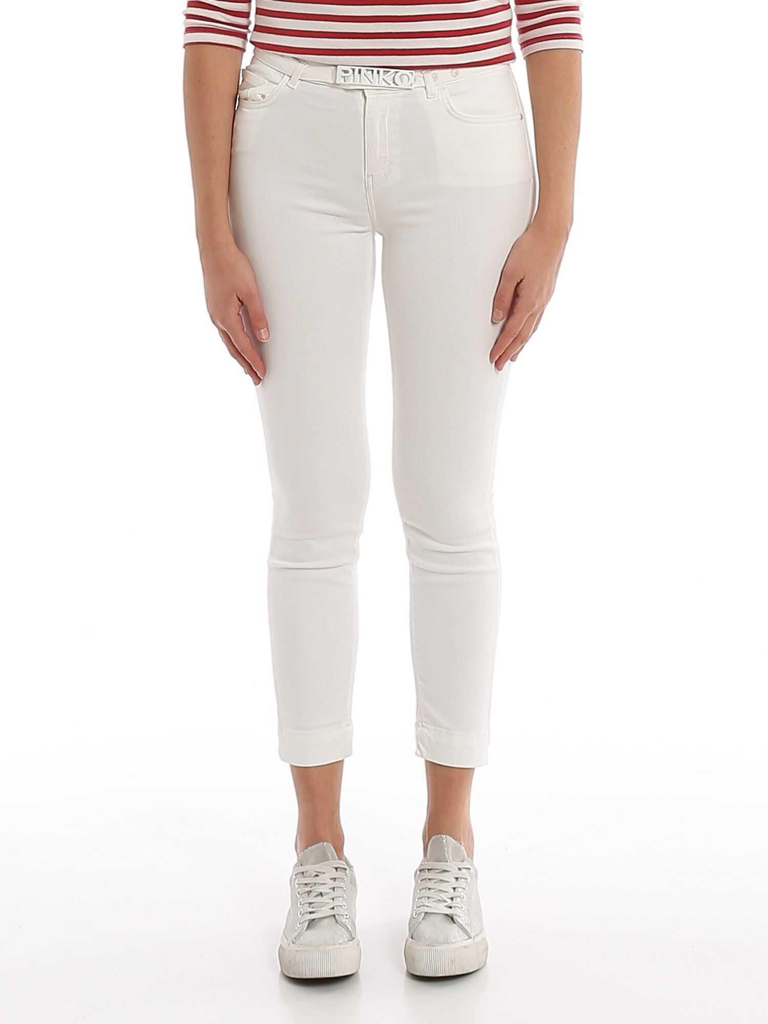 Pinko Sabrina Jeans With Logo Bucked Belt White