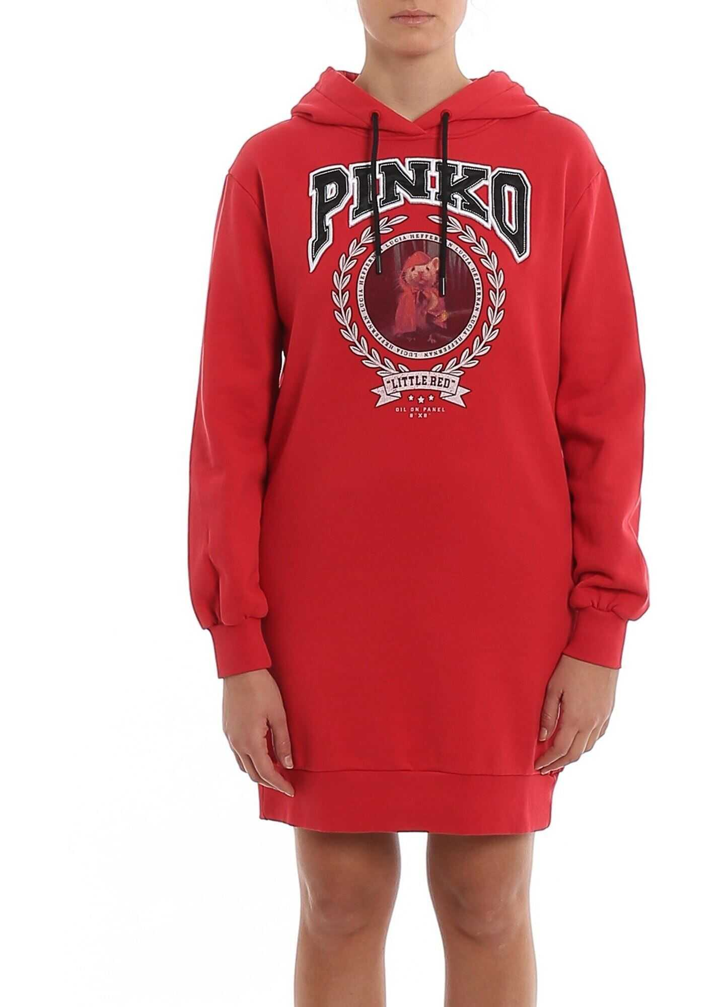 Pinko Obsidian Hoodie Style Dress Red