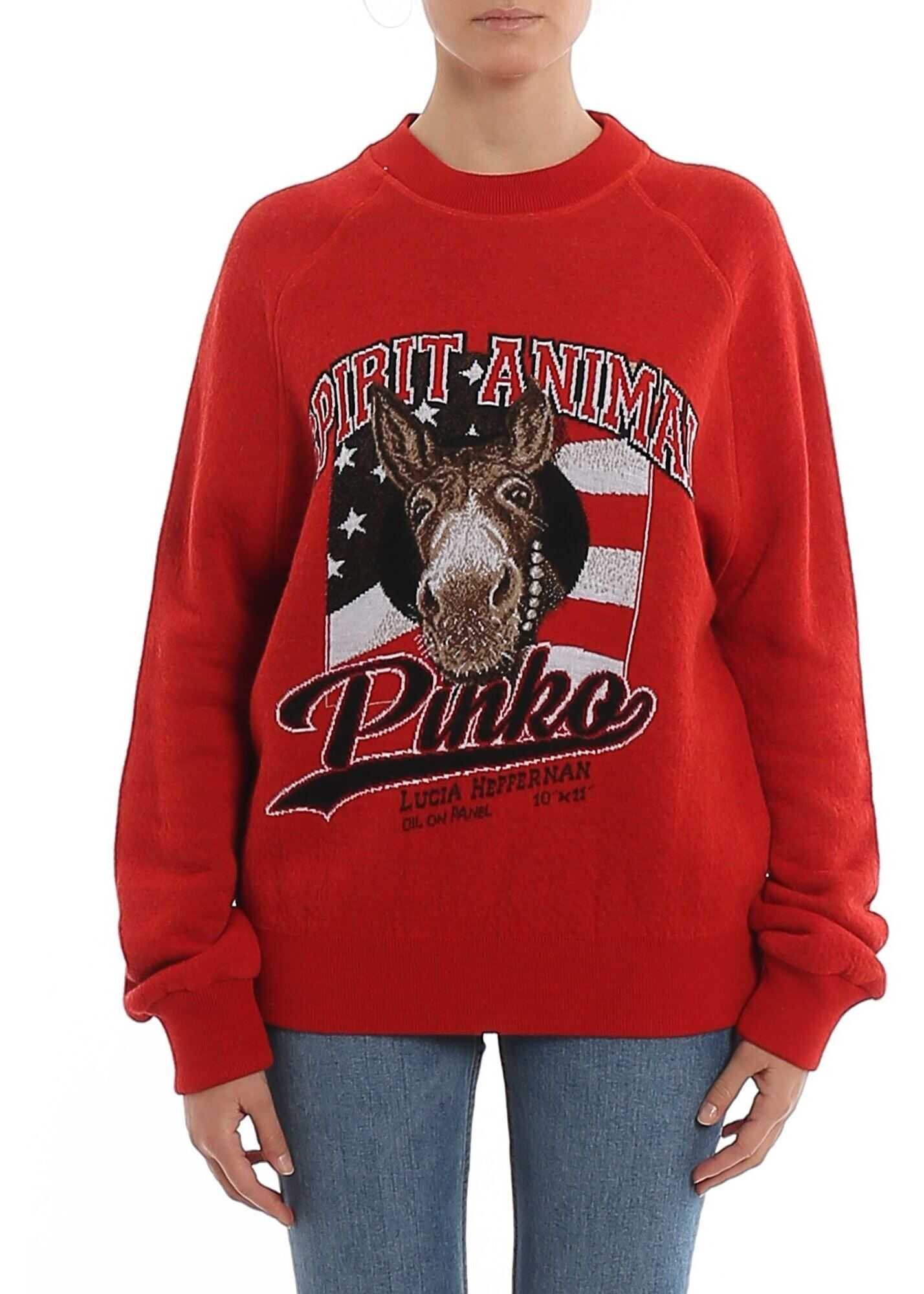 Pinko Printed Citrine Sweater Red