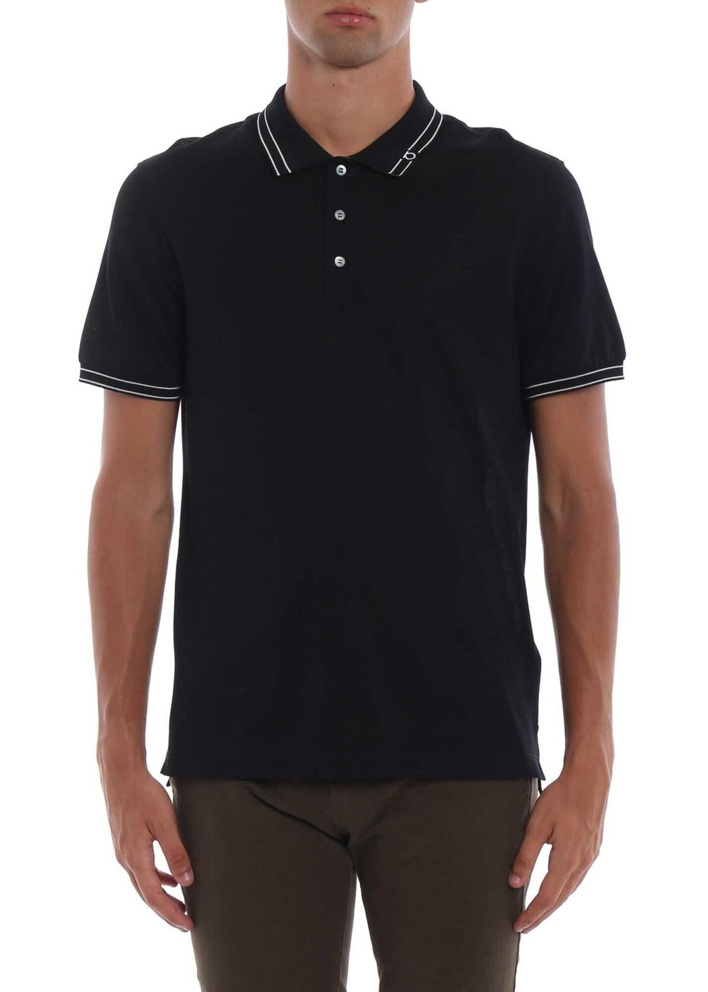 Salvatore Ferragamo Gancio Embroidery Cotton Pique Polo Shirt Blue