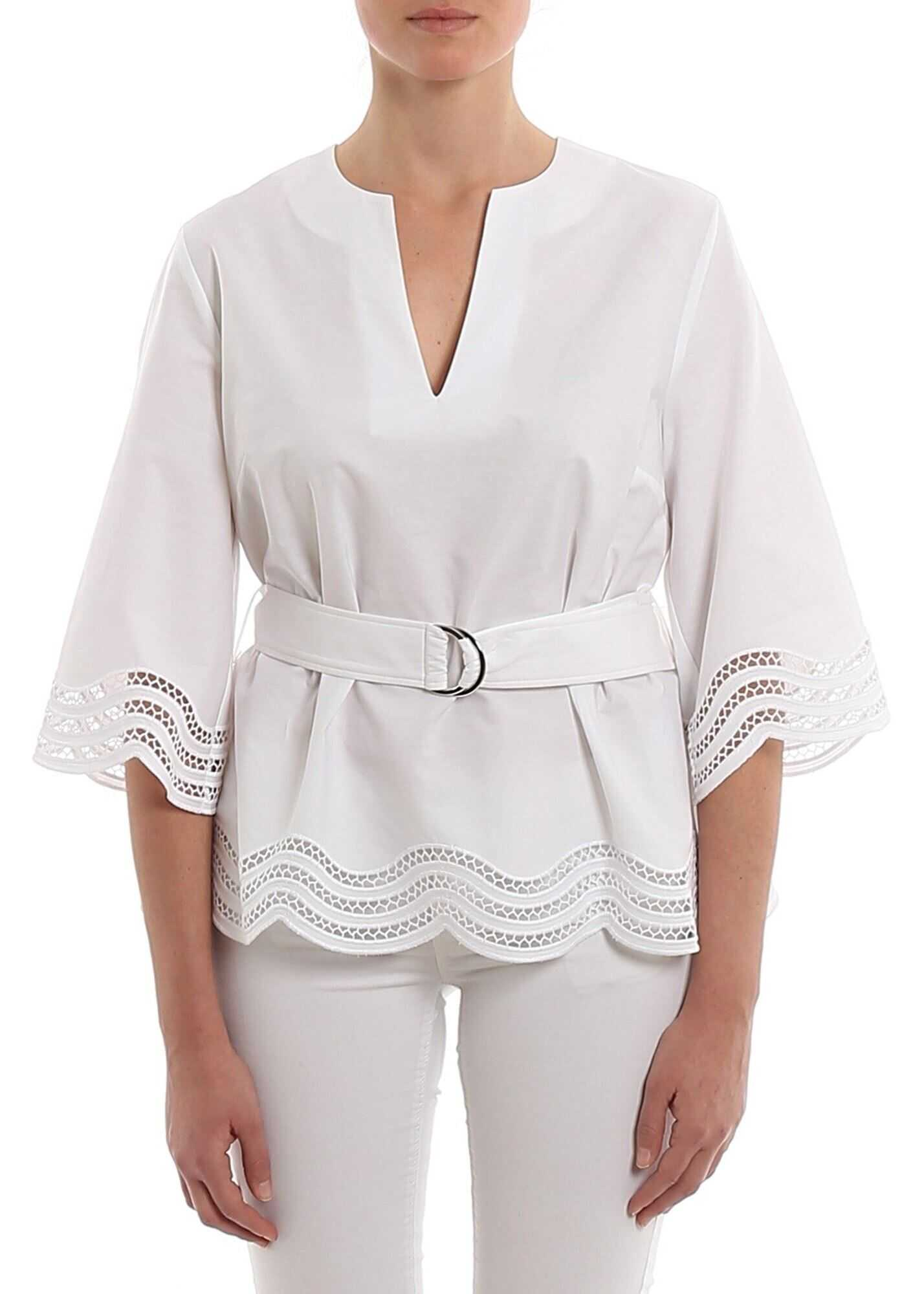 P.A.R.O.S.H. Cojour Belted Blouse White