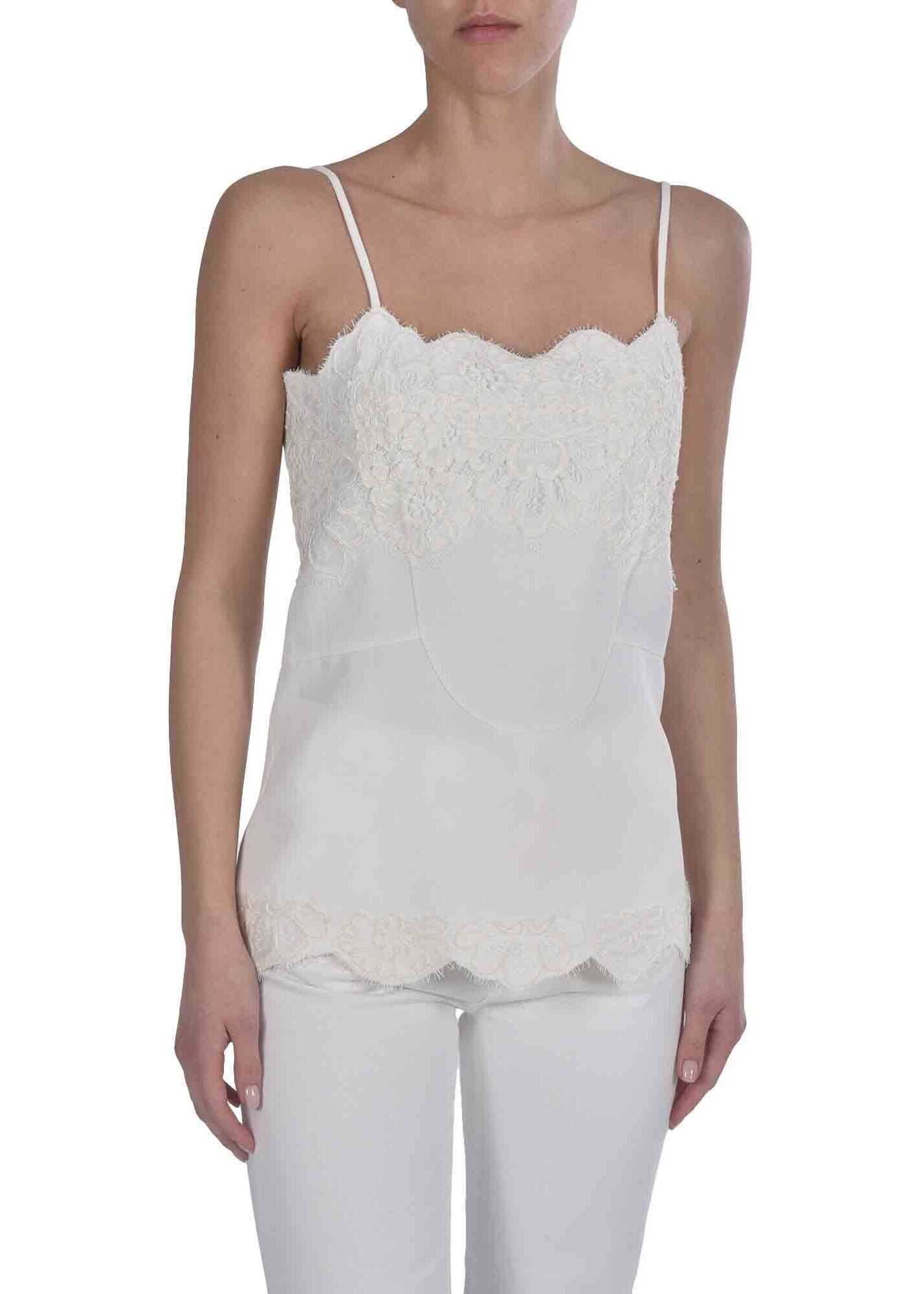 Ermanno Scervino Top In White With Lace Details White