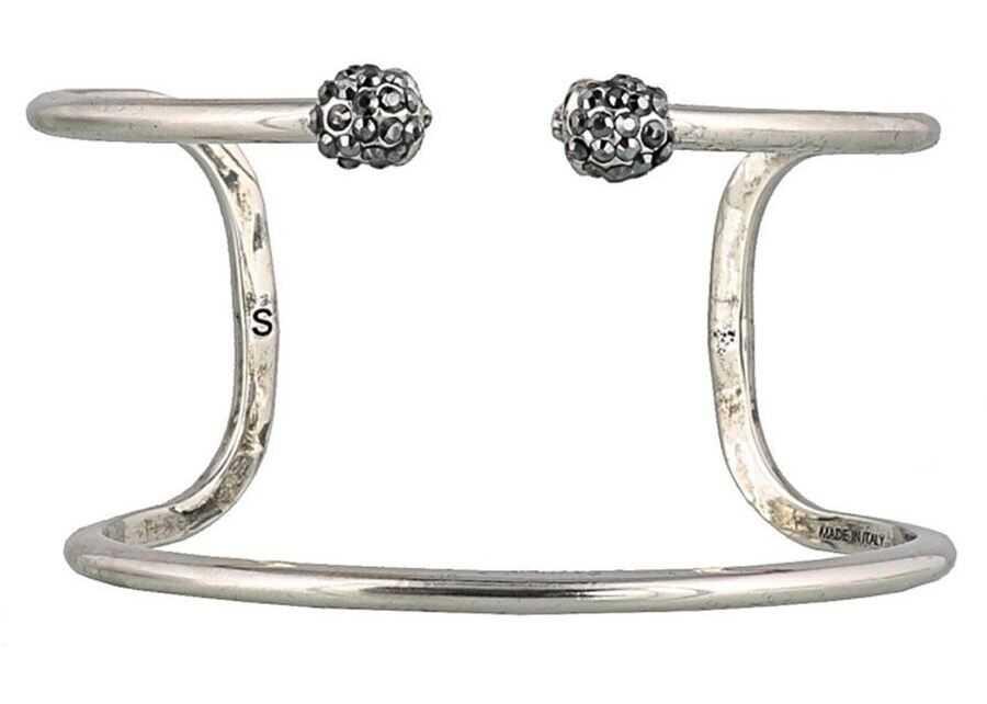 Alexander McQueen Brass Double Wrap Bracelet Silver