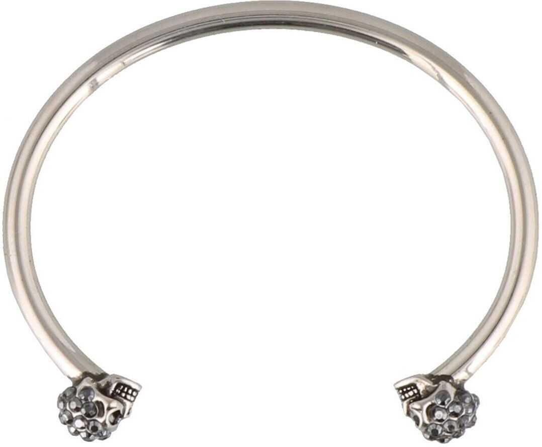 Alexander McQueen Twin Skull Logo Detailed Bangle Silver