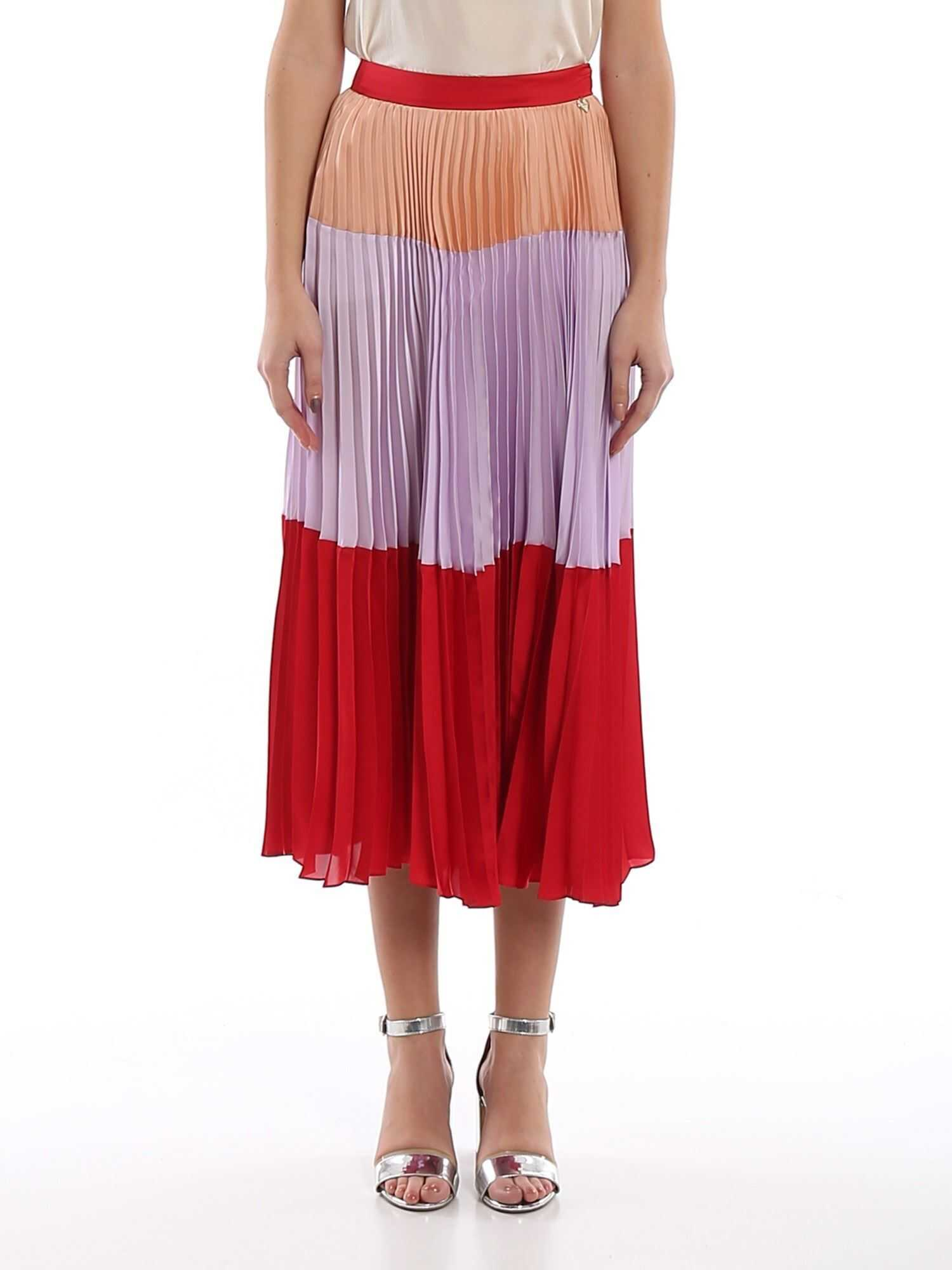Twin-set Simona Barbieri Colour Block Pleated Satin Skirt Multi