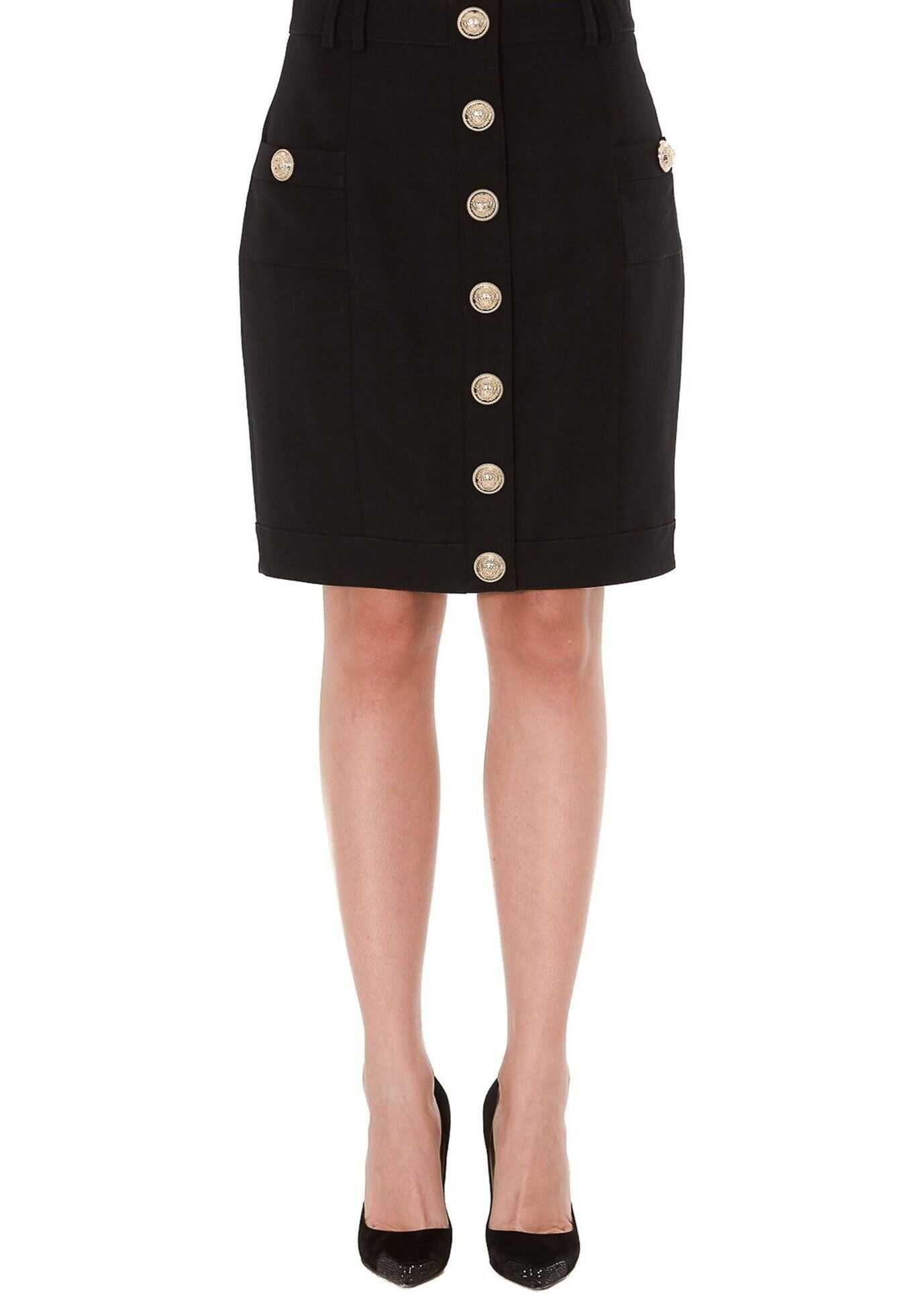 Balmain Wool Skirt With Iconic Buttons Black