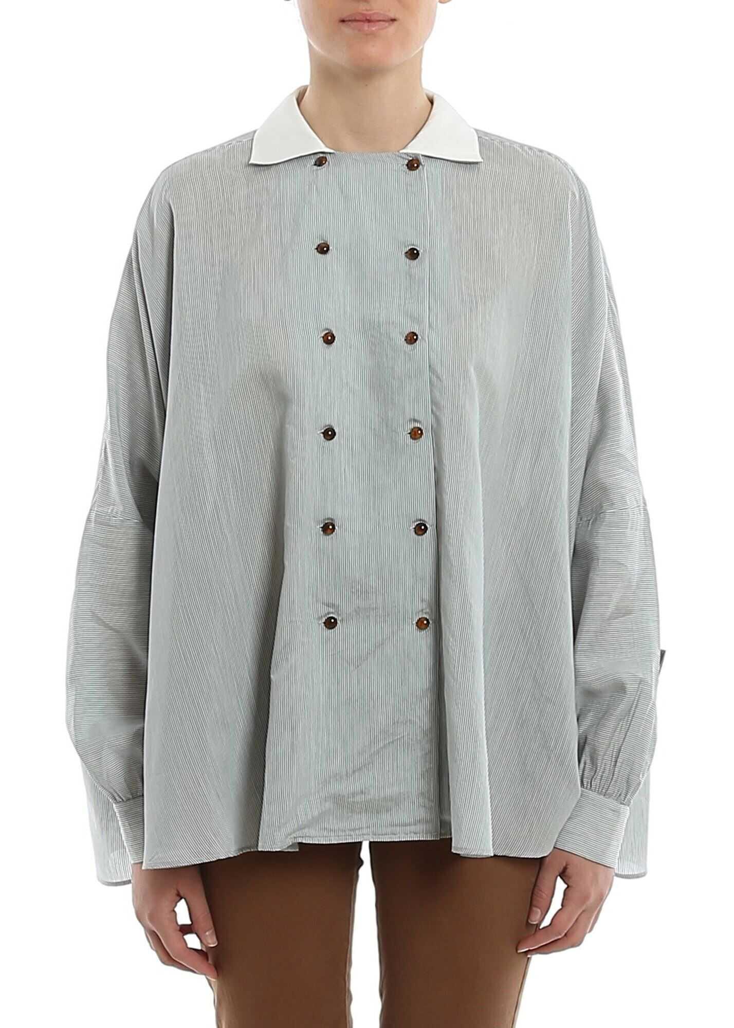 Giorgio Armani Striped Double Breasted Shirt Light Blue