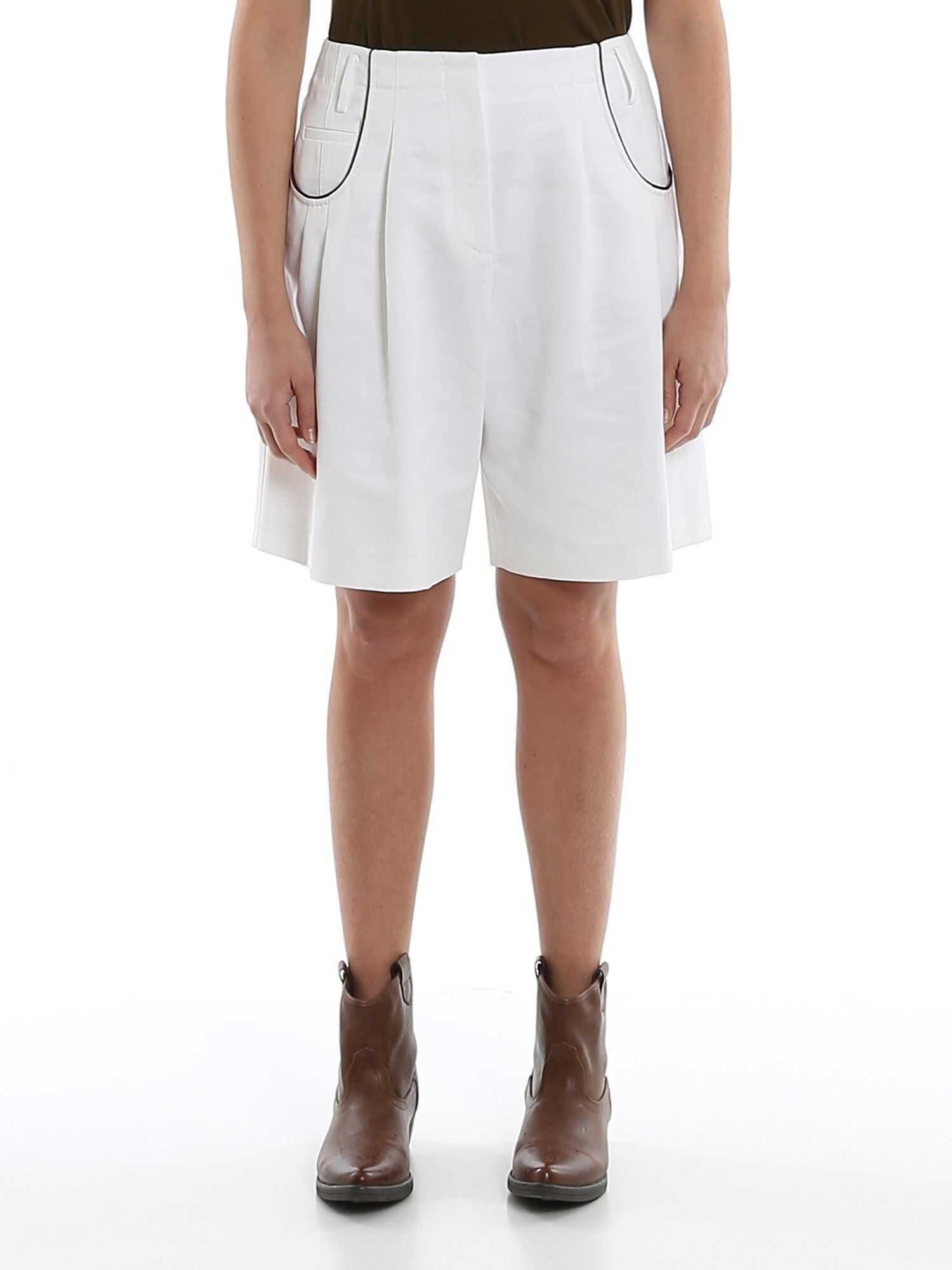 Giorgio Armani Contrasting Piping Gabardine Shorts White