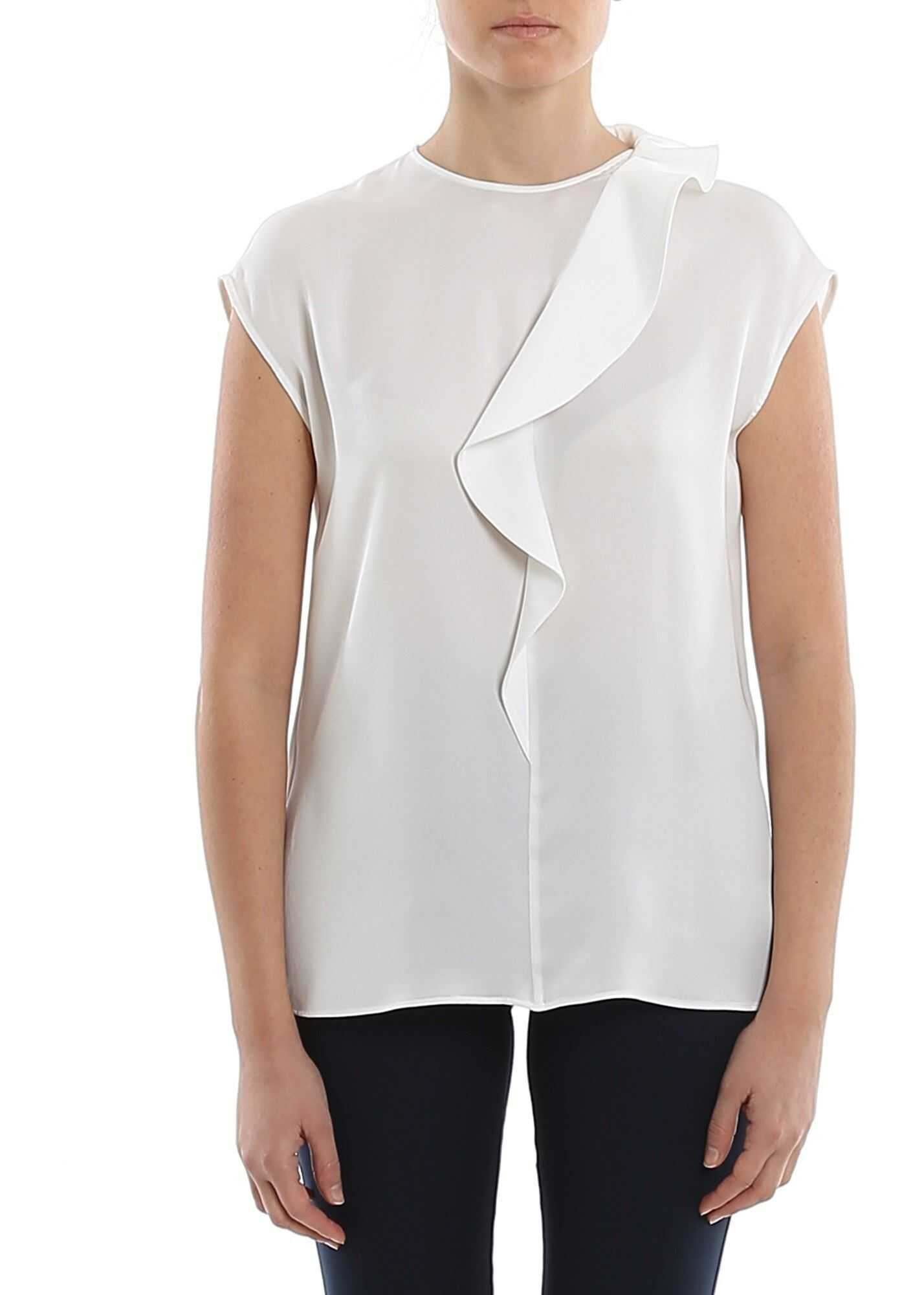 Giorgio Armani Ruffle Silk Blouse White