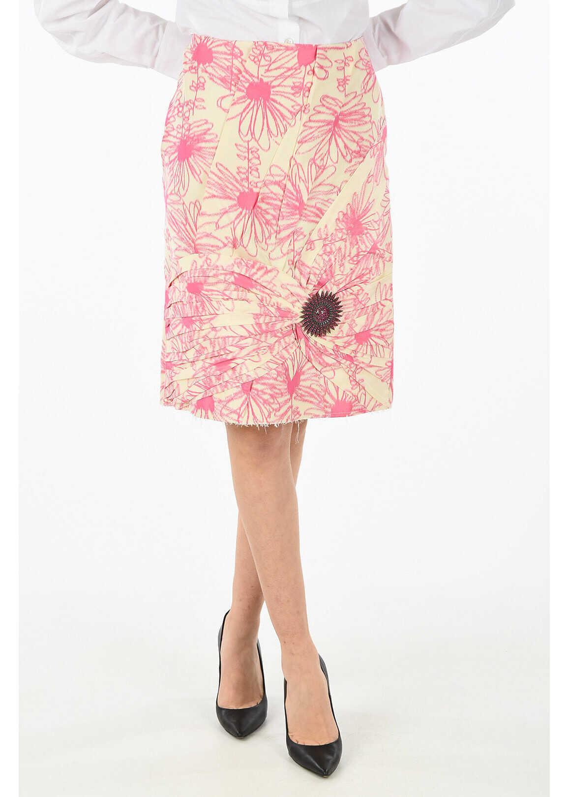 Calvin Klein 205W39NYC silk split-back hem skirt PINK