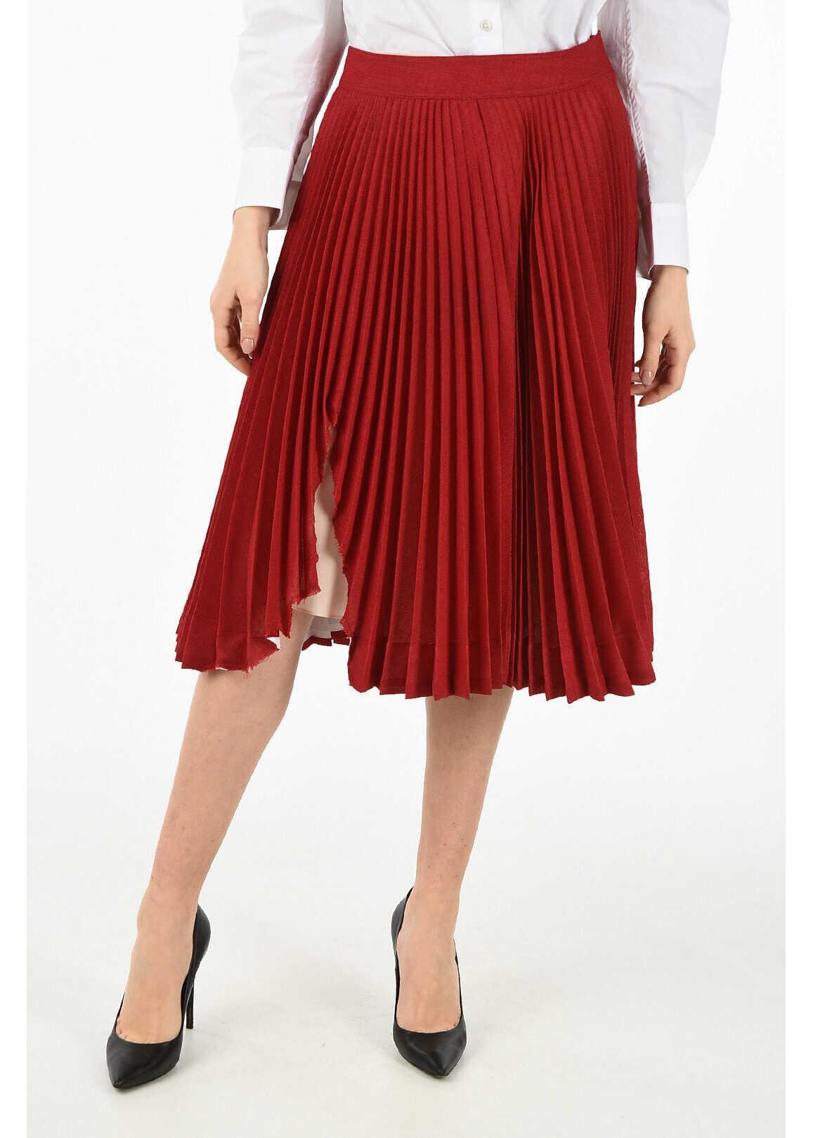 Calvin Klein 205W39NYC vintage effect accordion skirt RED