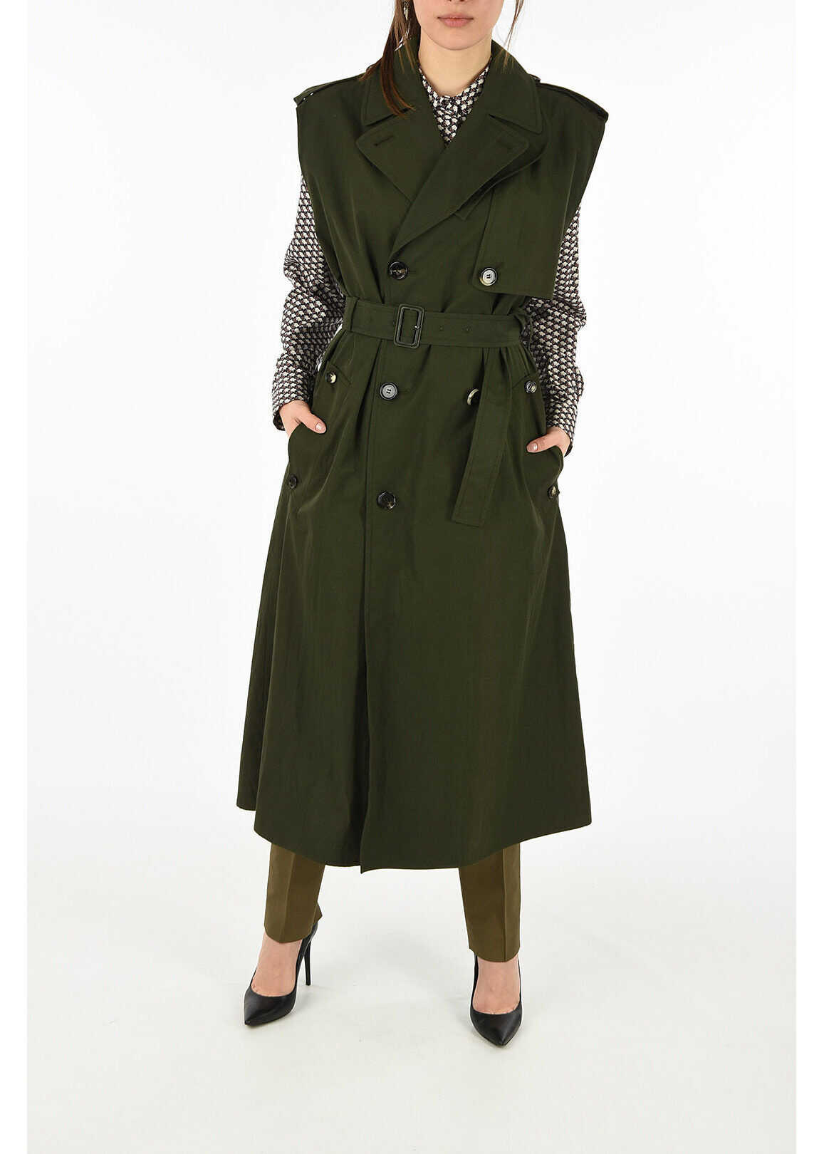 Bottega Veneta sleevelss double breasted POLY coat GREEN