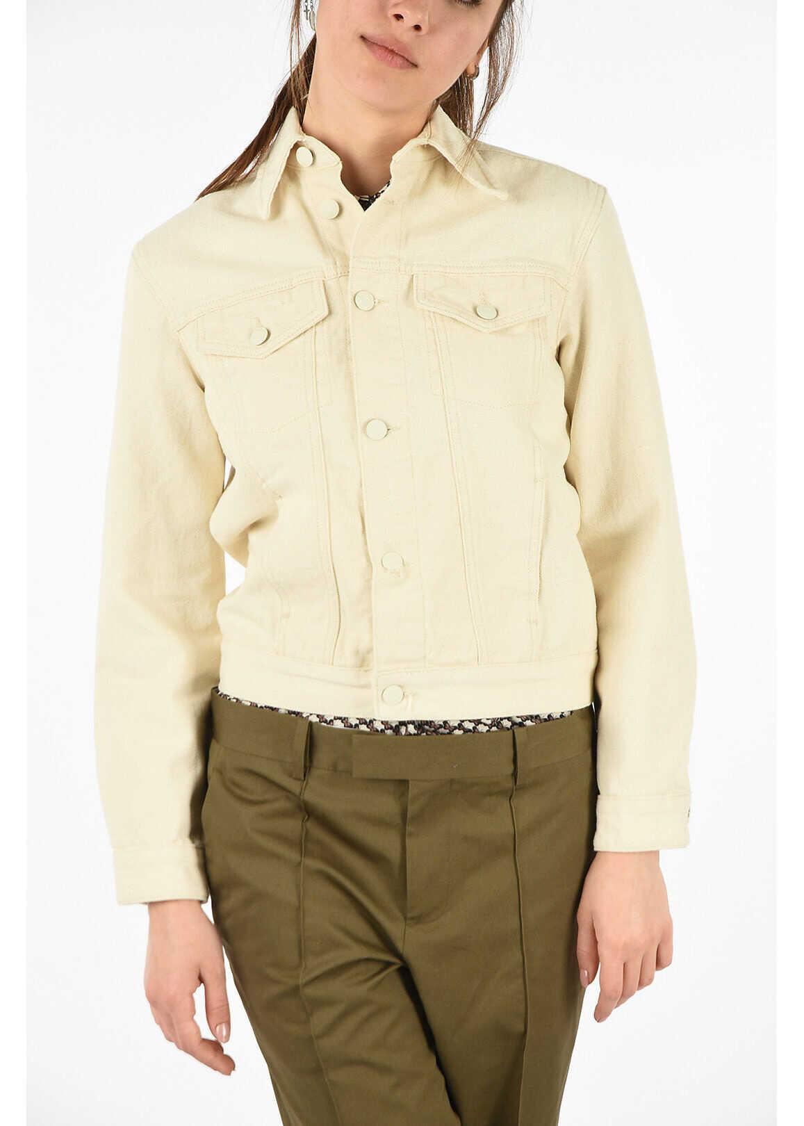 Calvin Klein waist length denim CLASSIC TRUCKER jacket BEIGE
