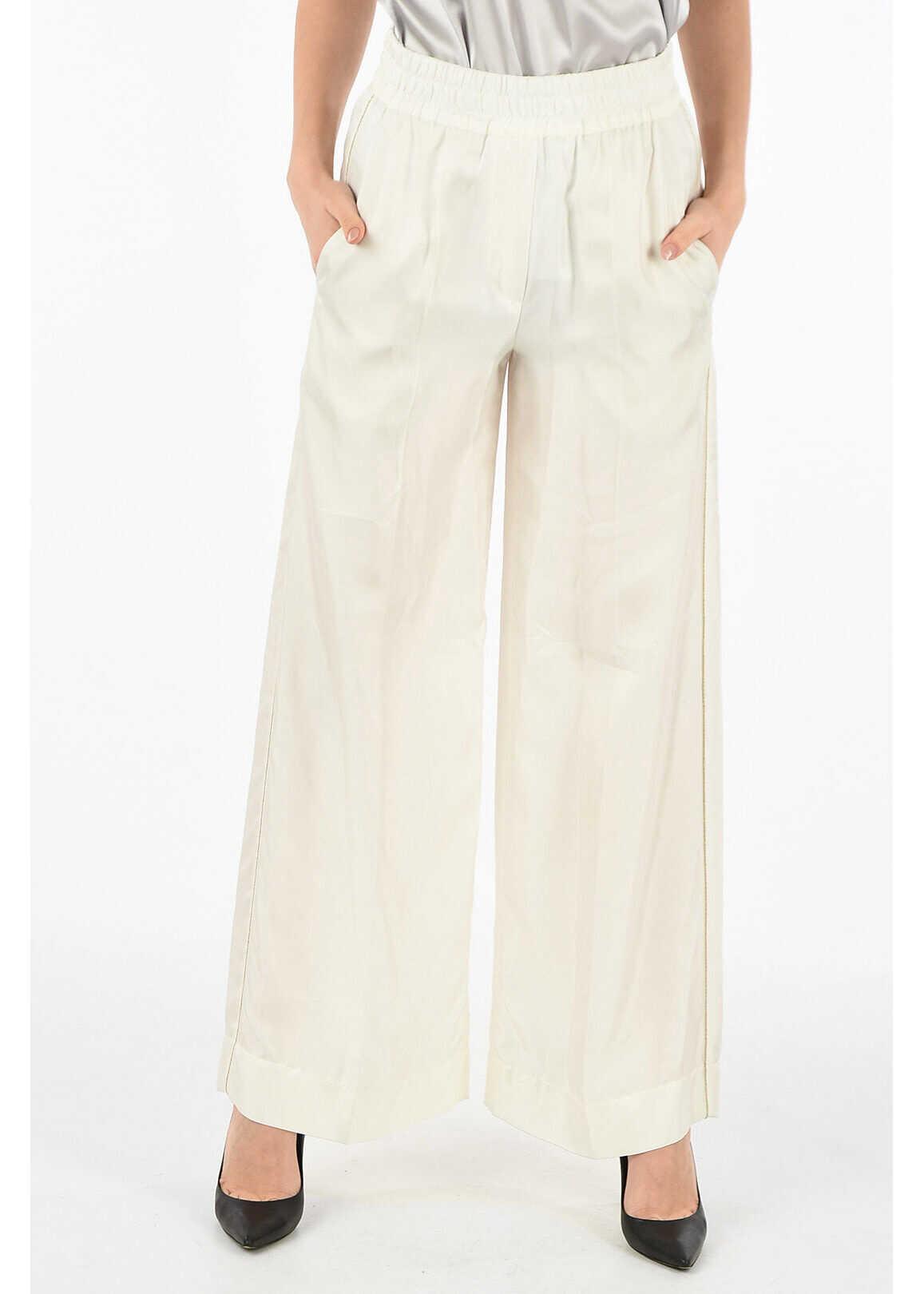 Brunello Cucinelli silk palazzo pants WHITE