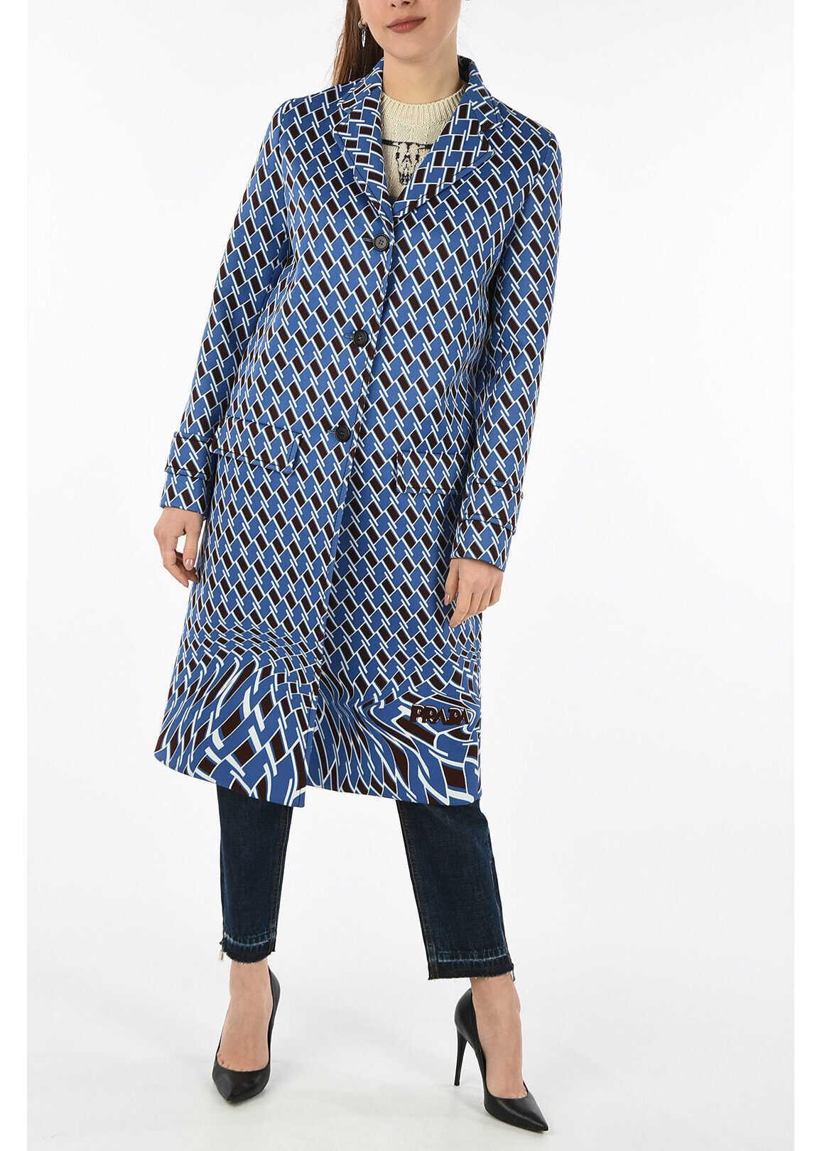 Prada printed coat BLUE