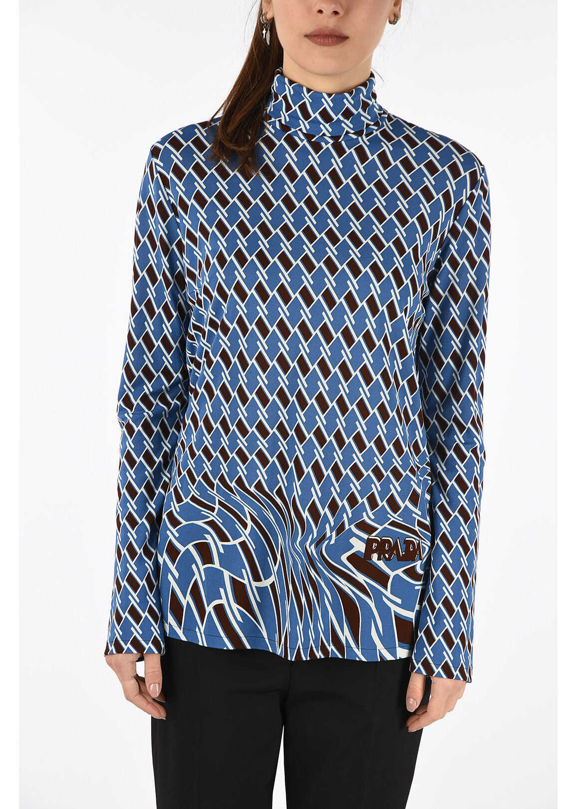 Prada printed turtle neck sweater BLUE