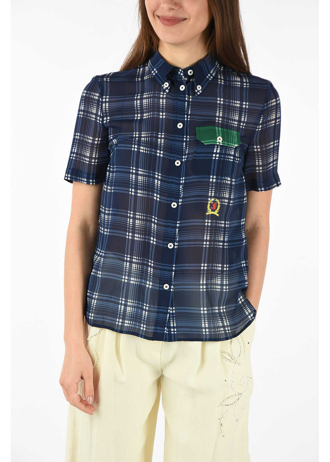 Tommy Hilfiger COLLECTION silk check shirt BLUE