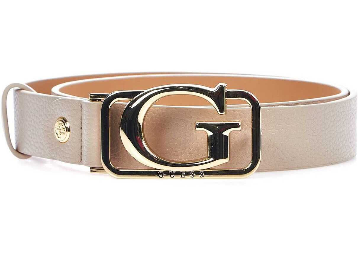 GUESS Belt with logo buckle Beige