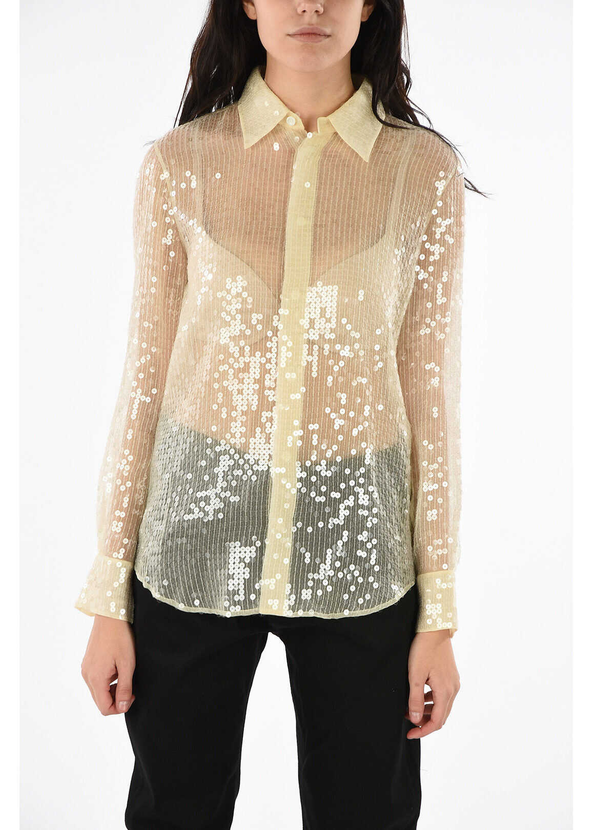 Céline sequined long sleeve blouse WHITE