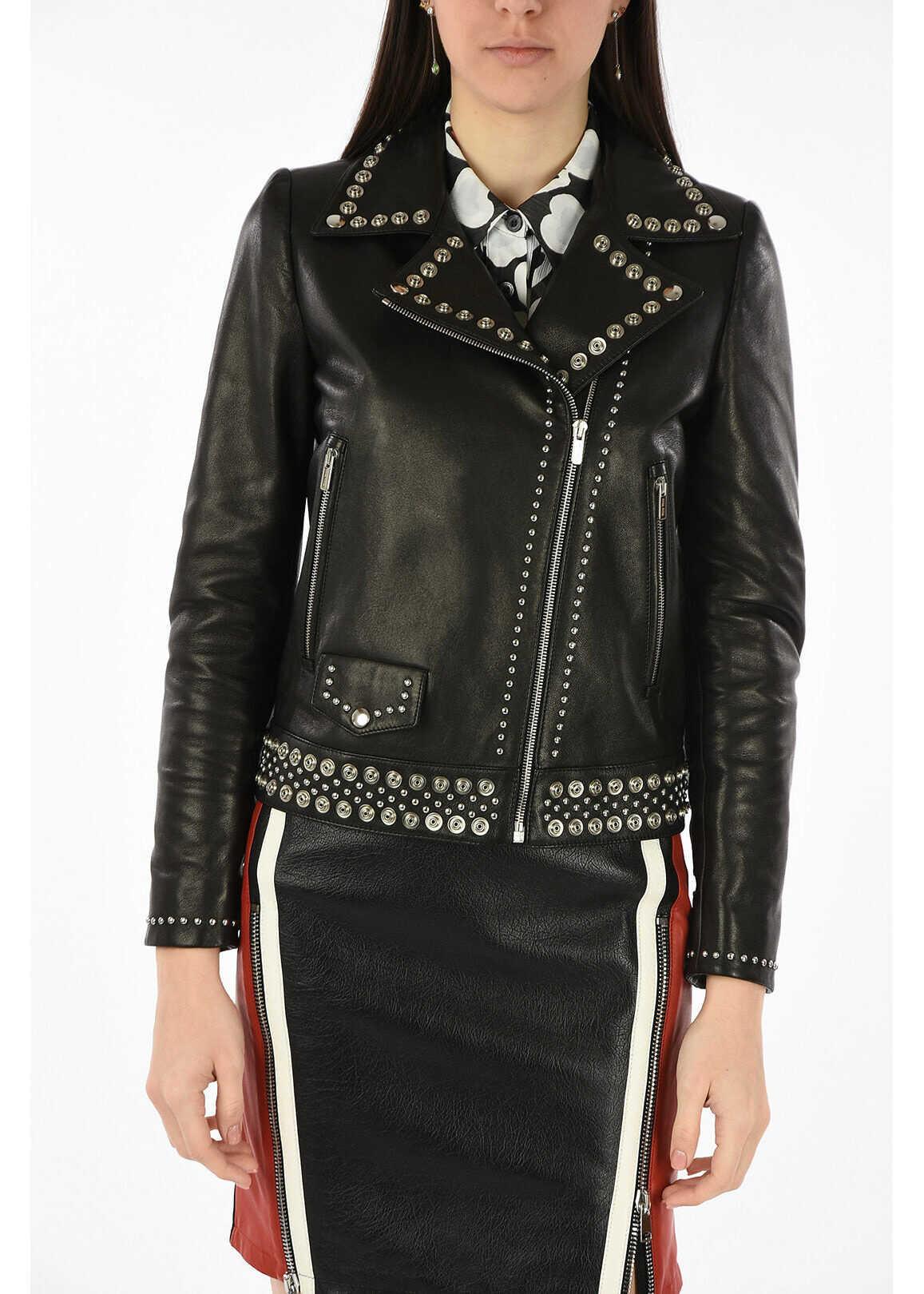 Miu Miu leather studded biker jacket BLACK