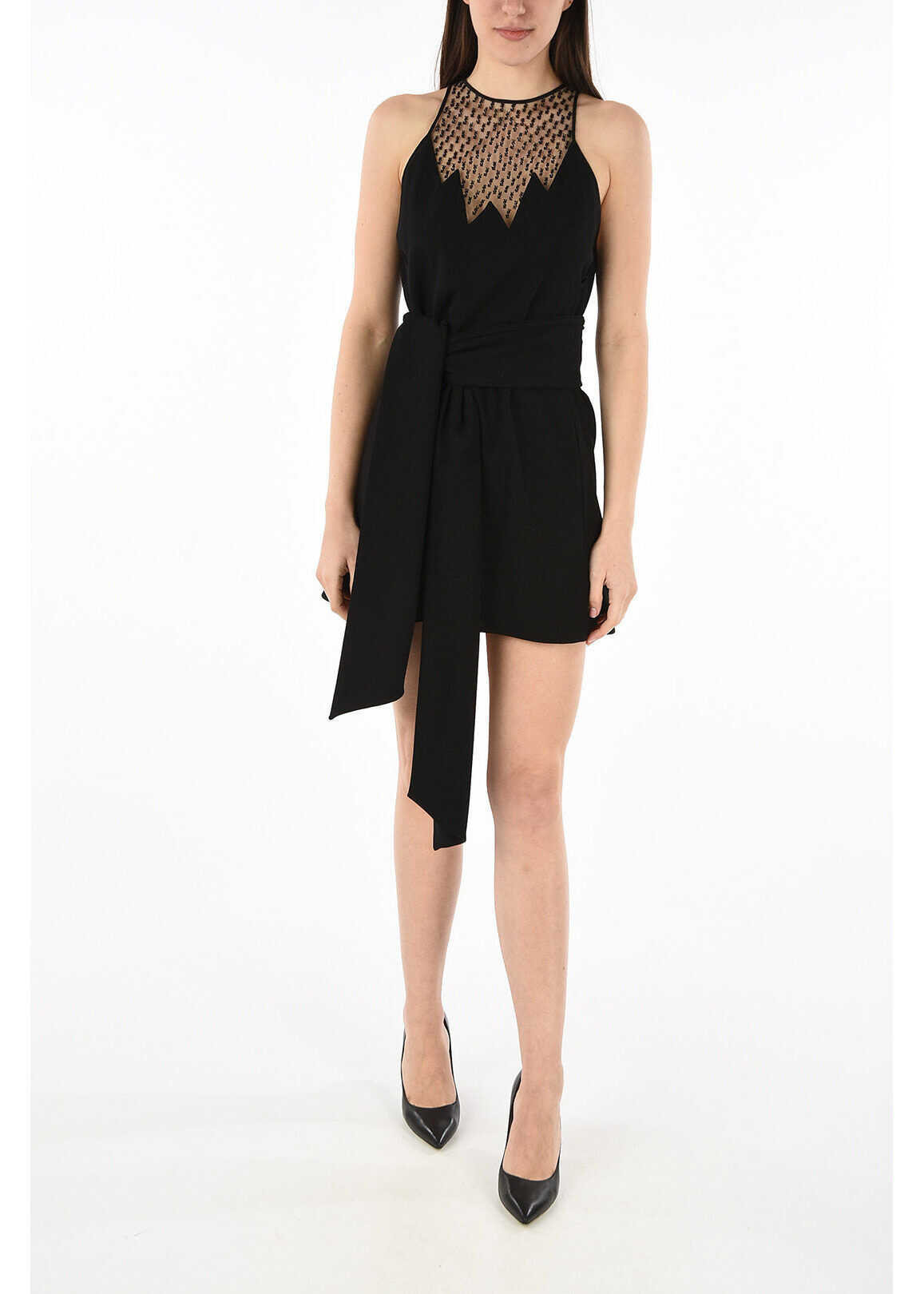 Saint Laurent rhinestone embellished a-line dress BLACK