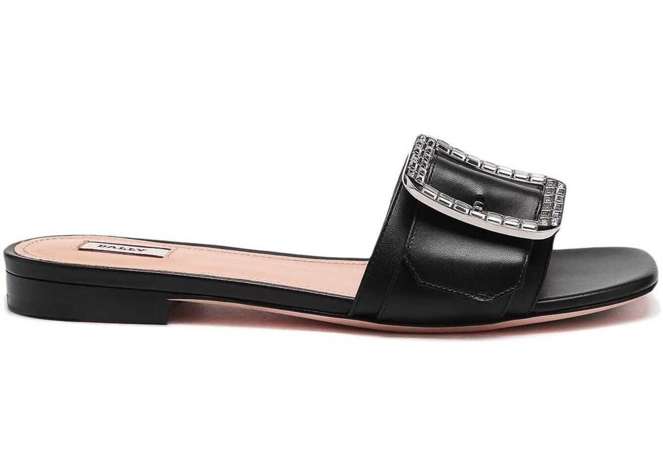 Bally Janna Leather Slide Sandals Black