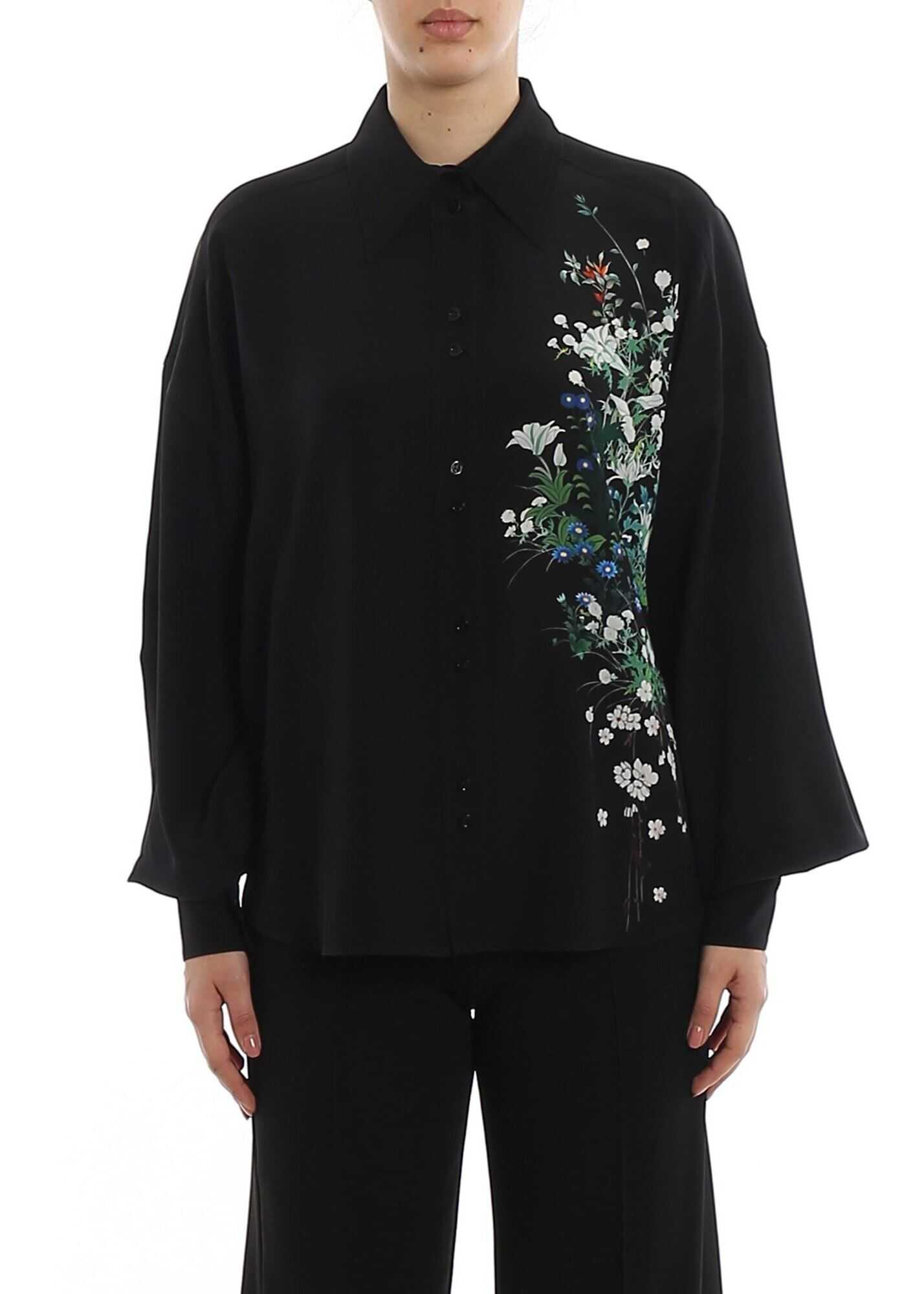 Givenchy Floral Print Silk Shirt Black