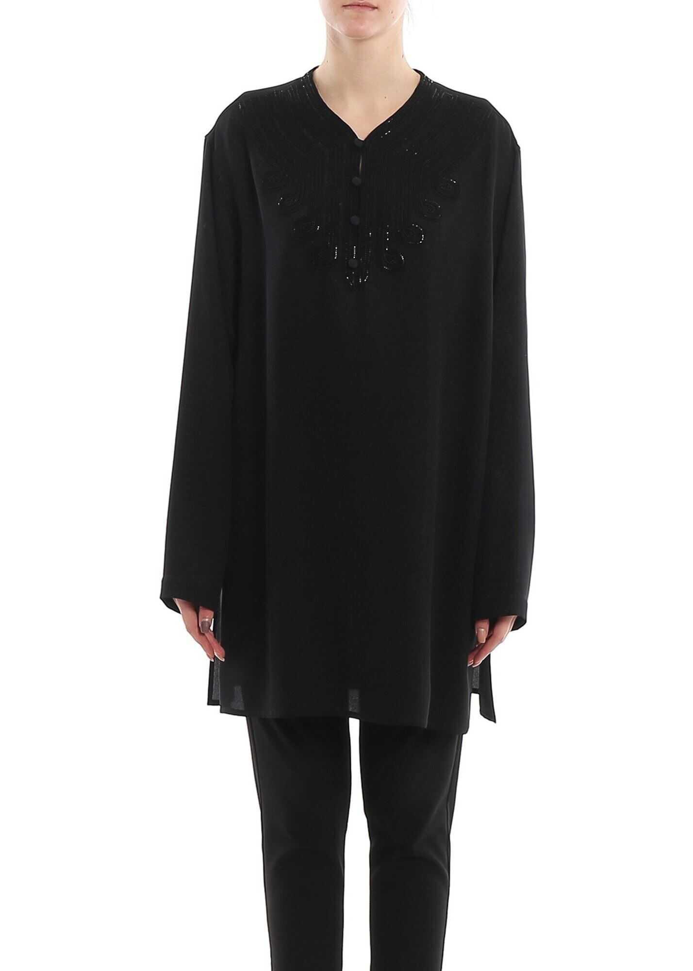 Saint Laurent Cady Crepe Blouse In Black Black