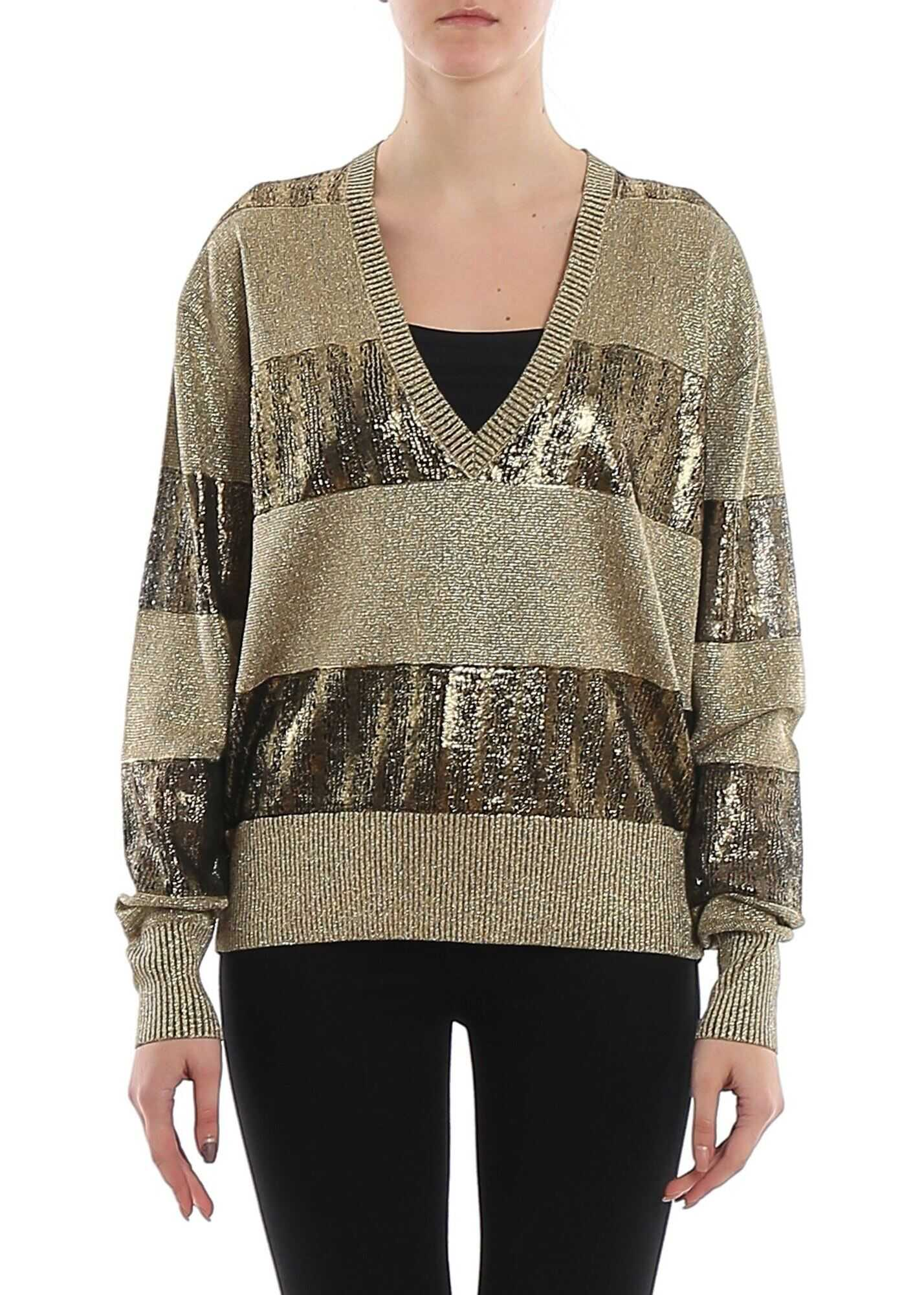 Saint Laurent Lamé Striped Patterned Sweater Gold