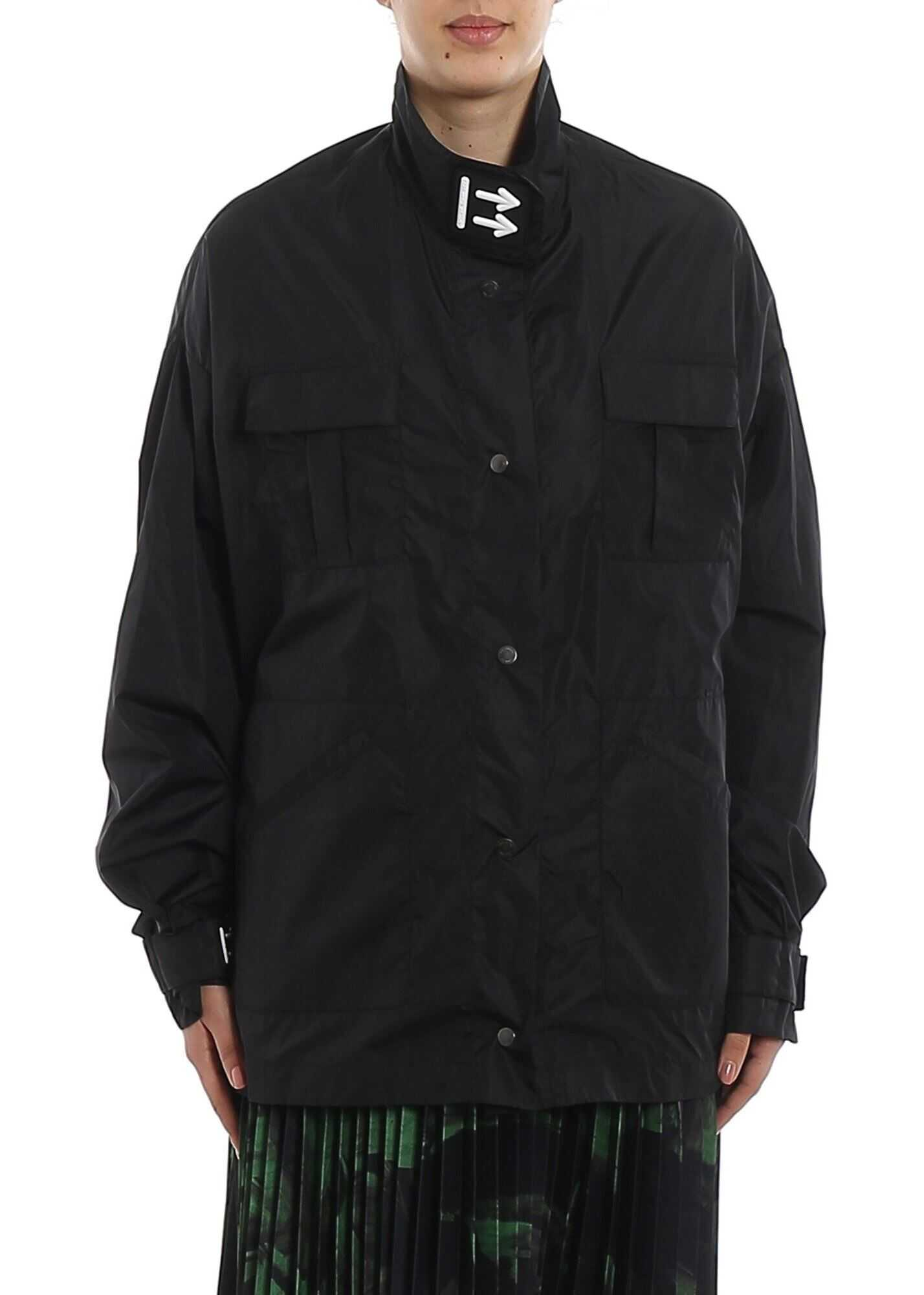Off-White Logo Print Oversized Jacket Black