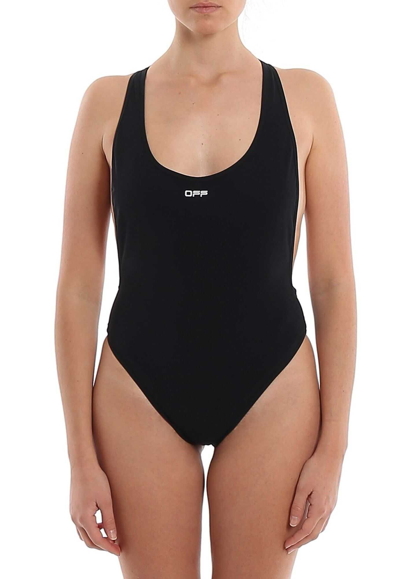 Off-White Logo Straps One-Piece Swimsuit Black