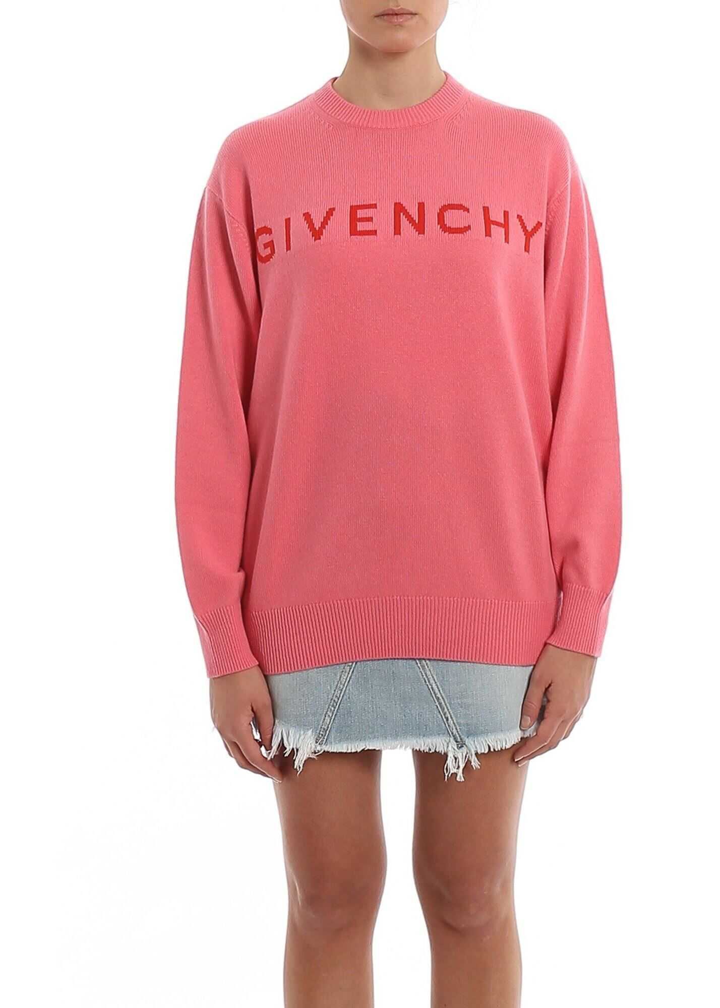 Givenchy Logo Intarsia Cashmere Sweater Pink