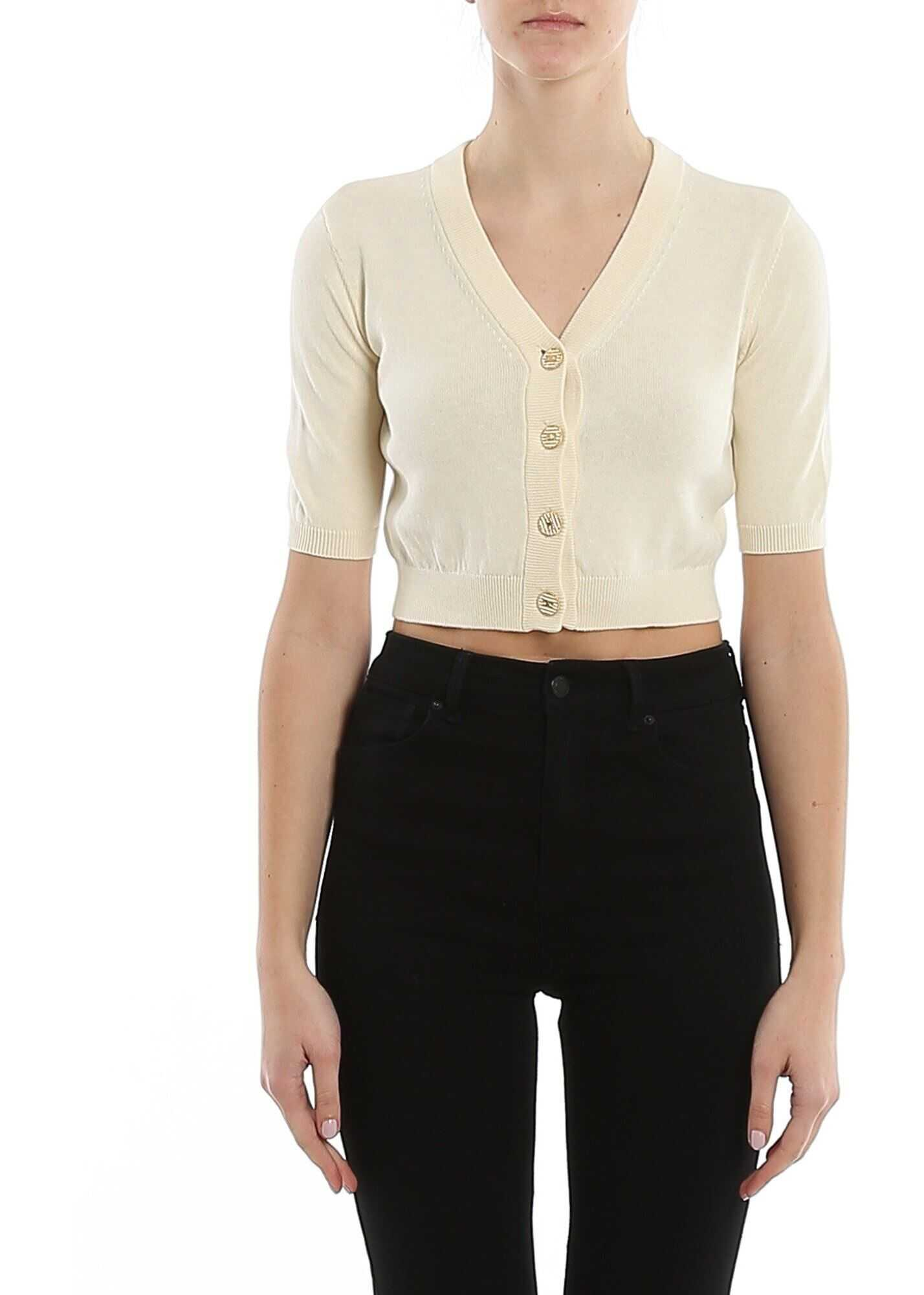 Elisabetta Franchi Cotton Cropped Cardigan Cream