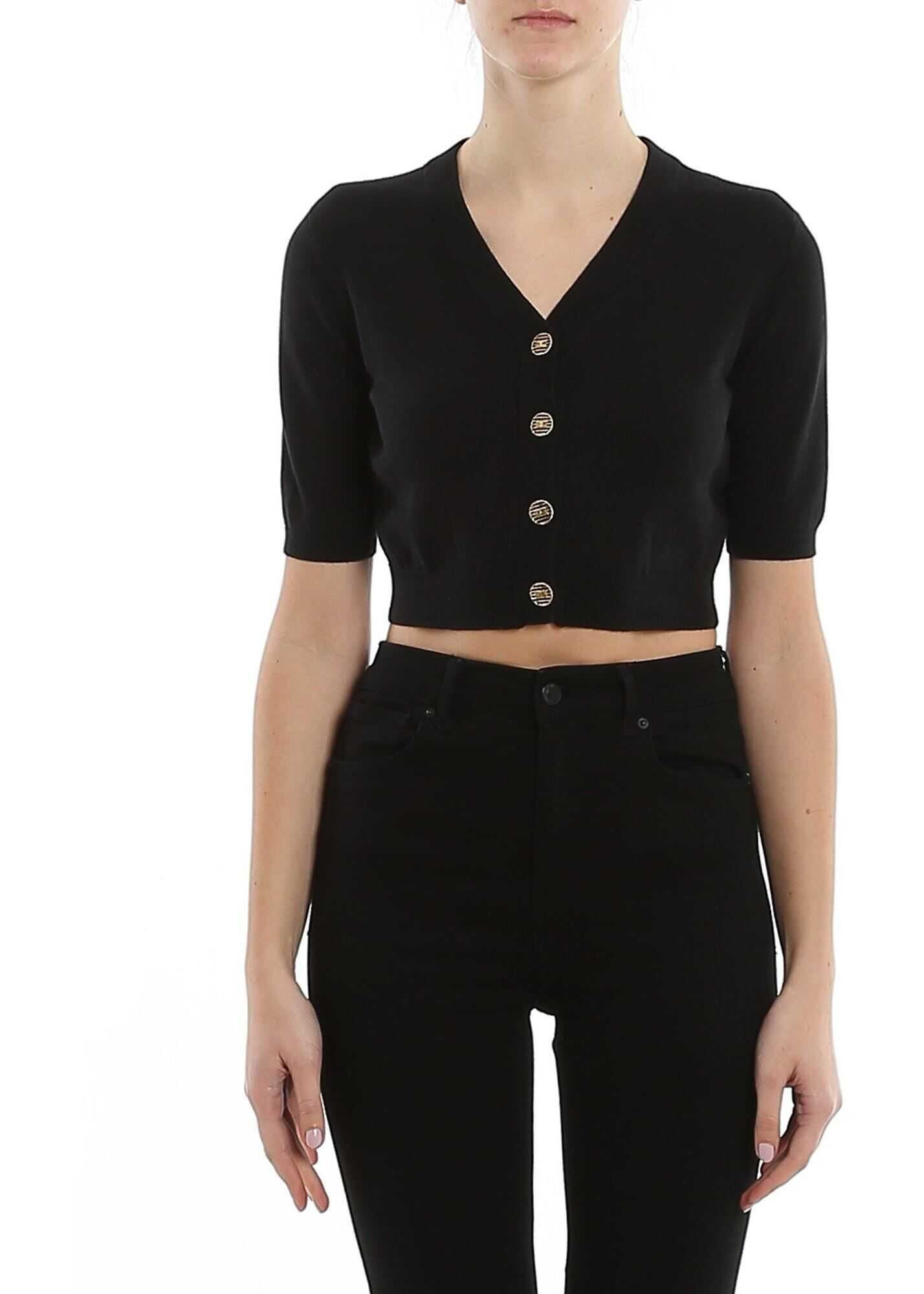 Elisabetta Franchi Cotton Cropped Cardigan Black