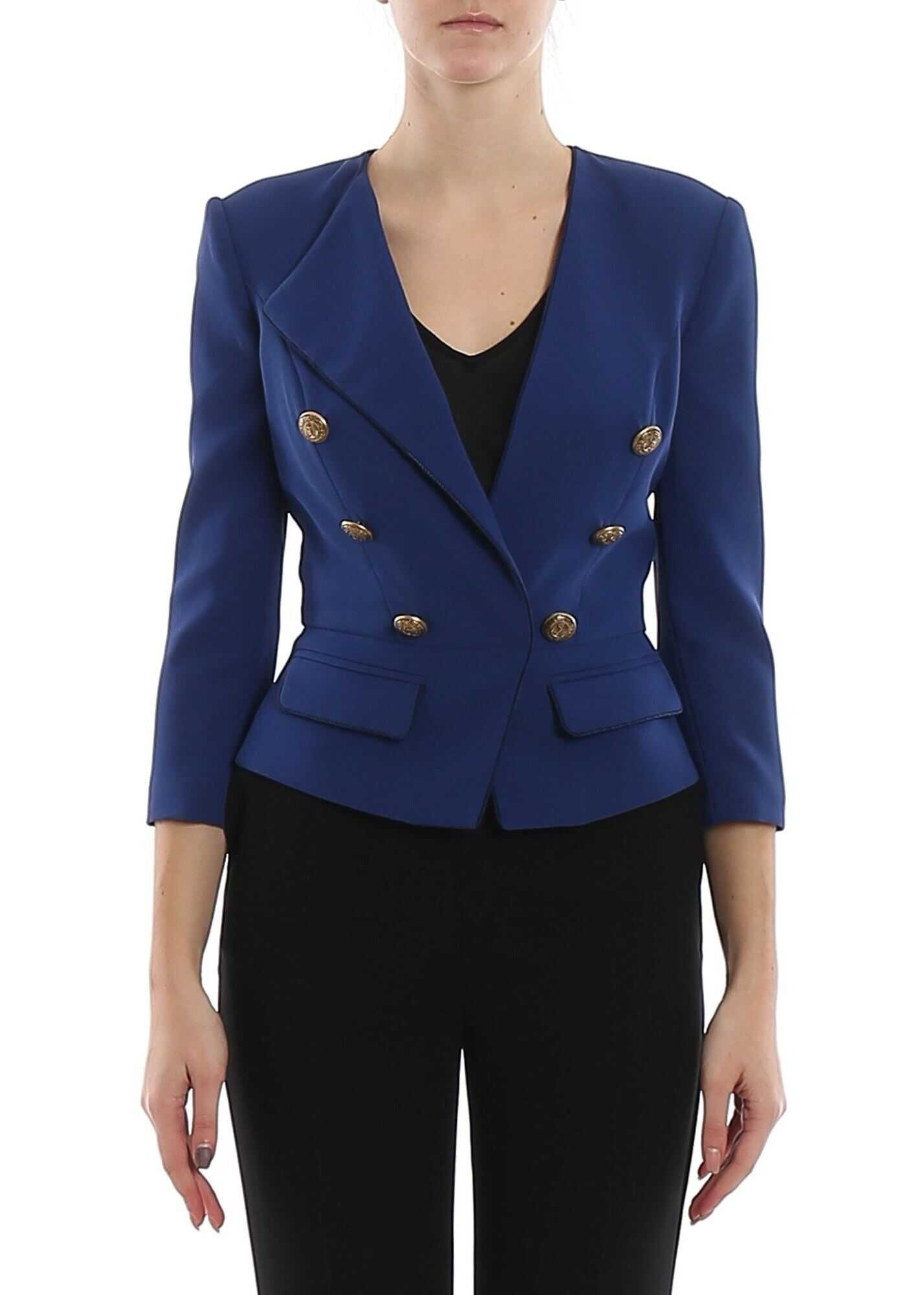 Elisabetta Franchi Blue Cropped Blazer With Golden Buttons Blue