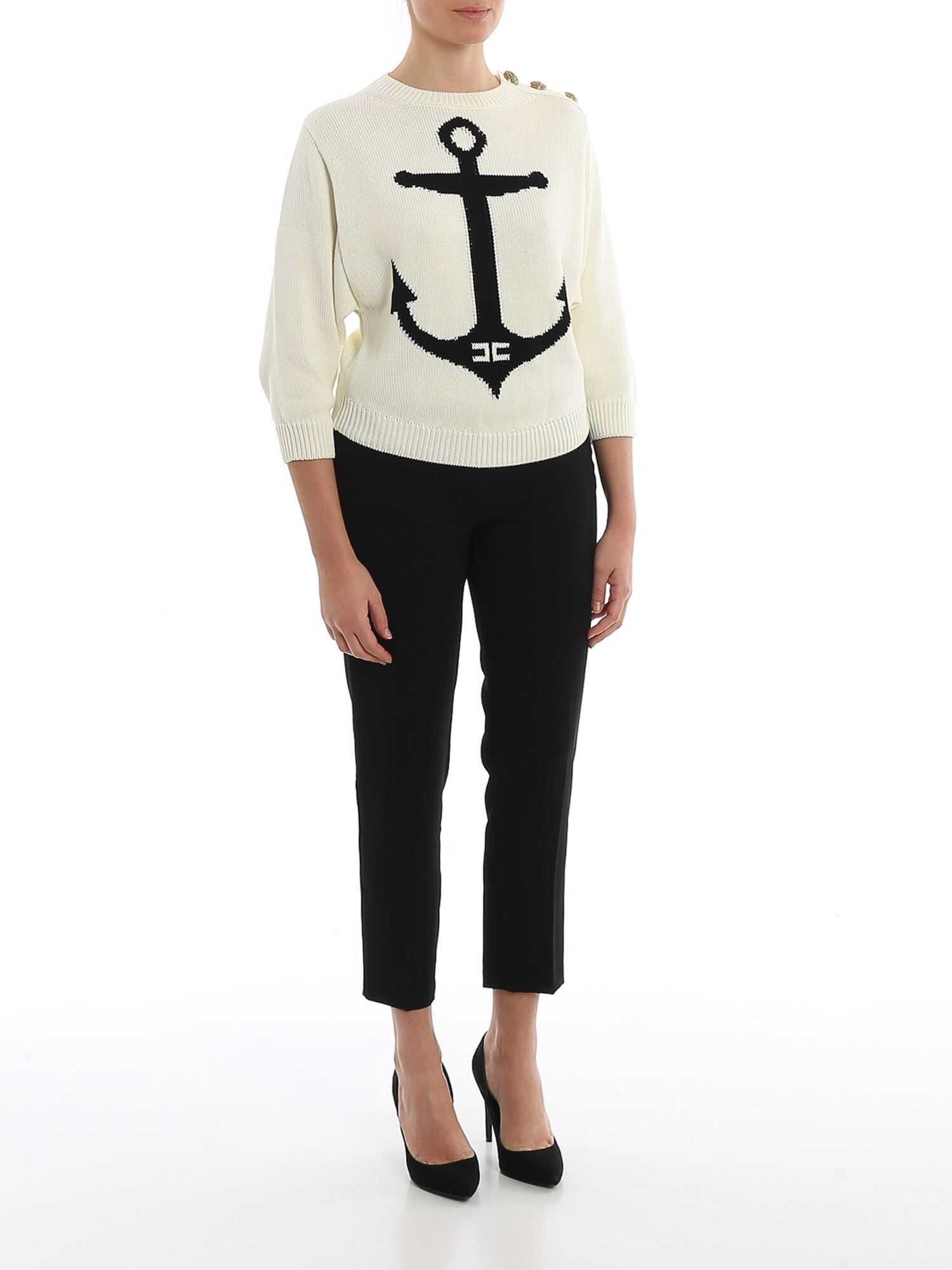 Elisabetta Franchi Anchor Intarsia Cotton Sweater Cream