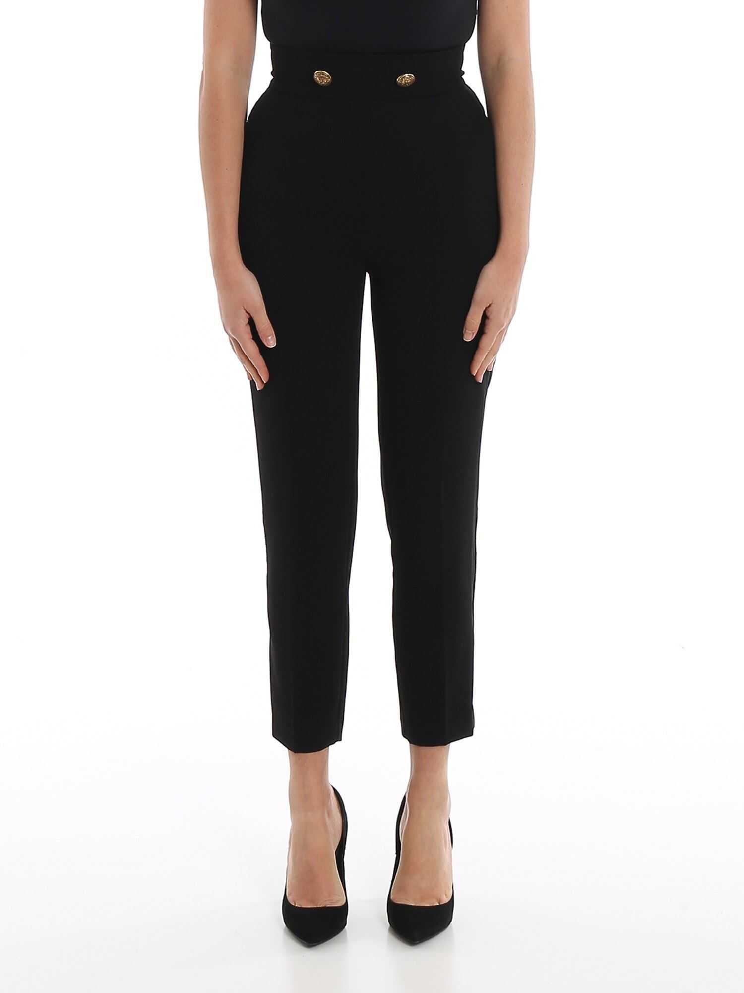 Elisabetta Franchi Fluid Crepe Black Trousers Black