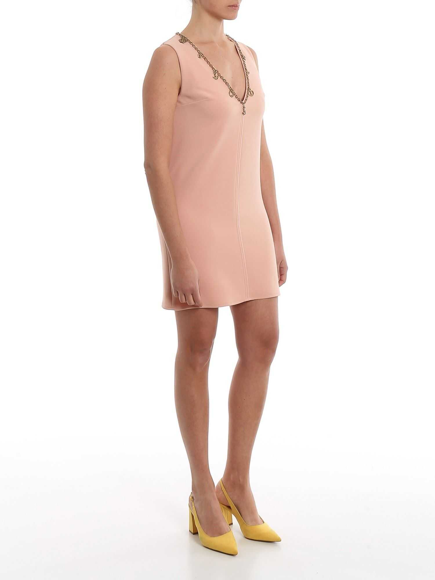 Elisabetta Franchi Chain Embellished Powder Pink Mini Dress Pink