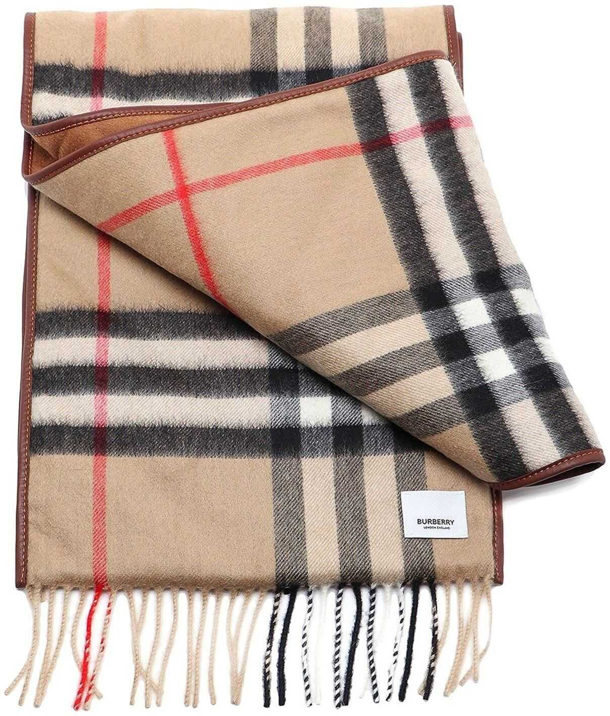 Burberry Vintage Check Leather Trimmed Scarf Beige