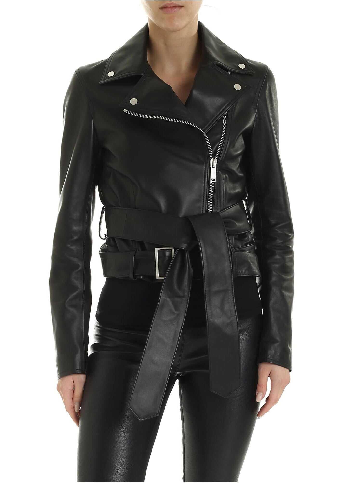 Palm Angels Double Belted Biker Jacket In Black Black